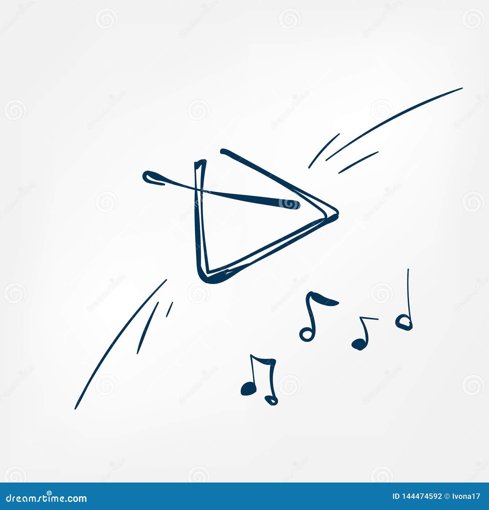 Ligne musicale instrument de croquis de triangle de musique de conception