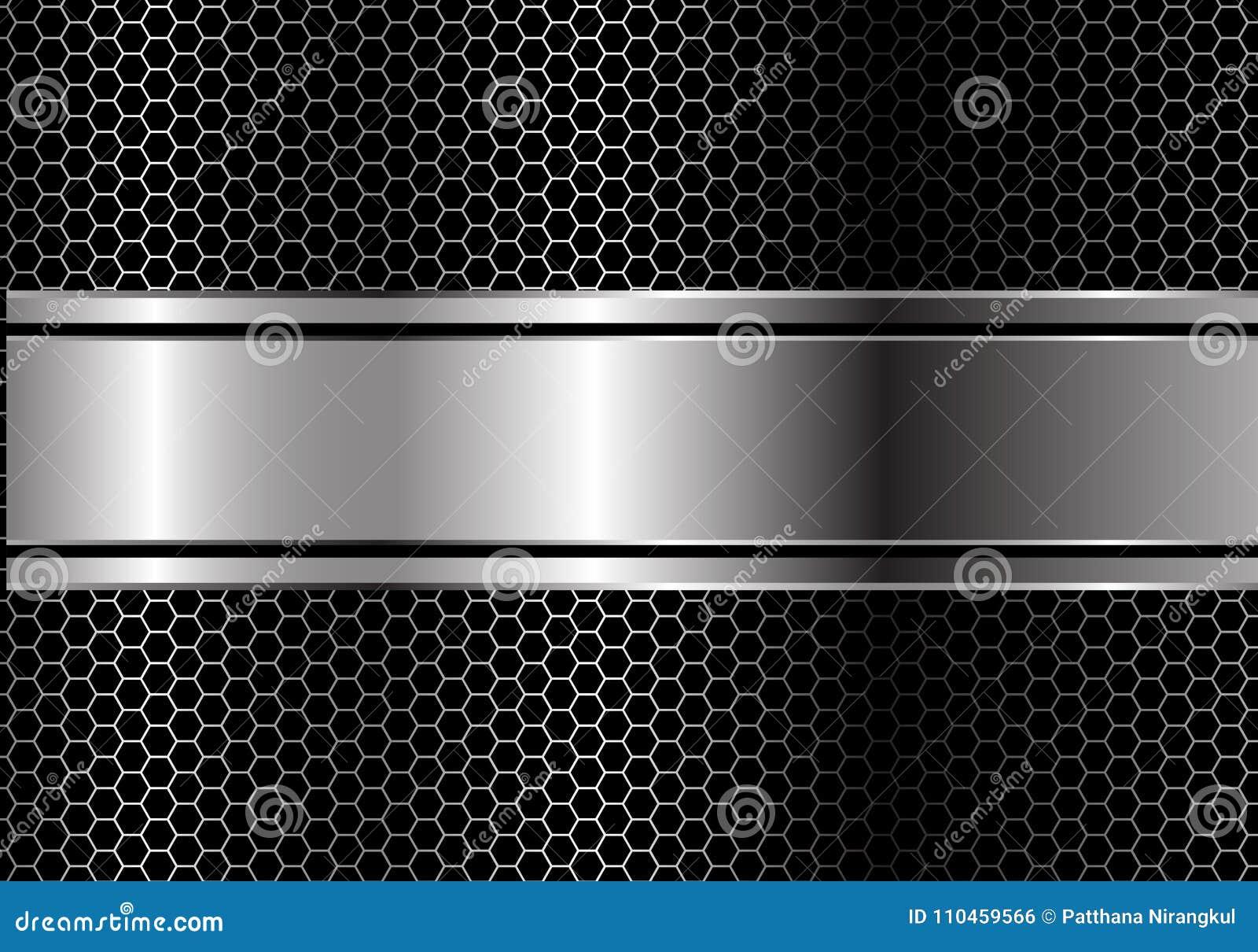 Ligne noire argentée abstraite chevauchement de bannière sur le vecteur futuriste de luxe moderne de fond de conception de maille