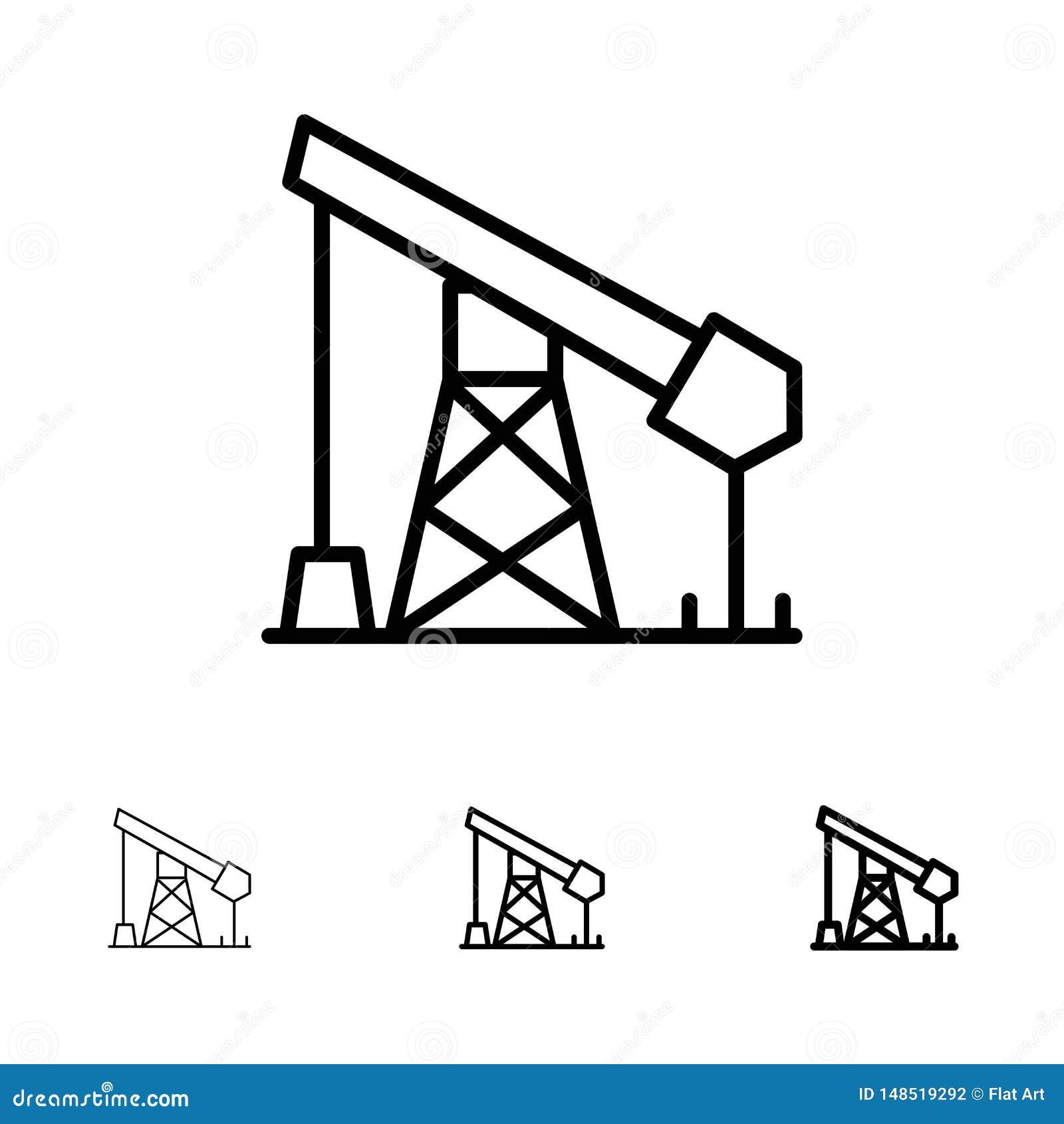 Ligne noire audacieuse et mince ensemble de construction, d industrie, de pétrole, de gaz d icône