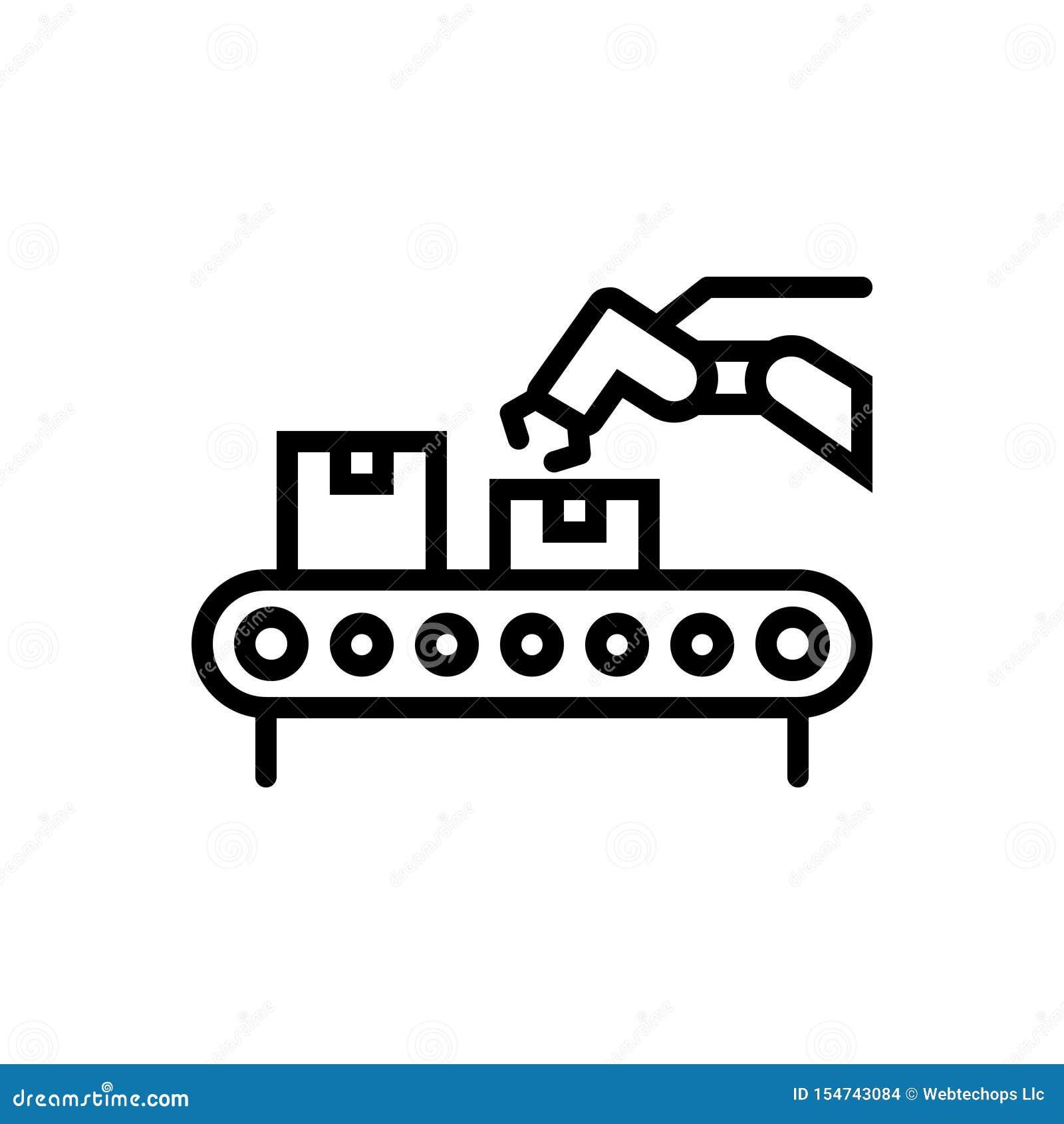 Ligne noire icône pour le convoyeur, la logistique et l empaquetage