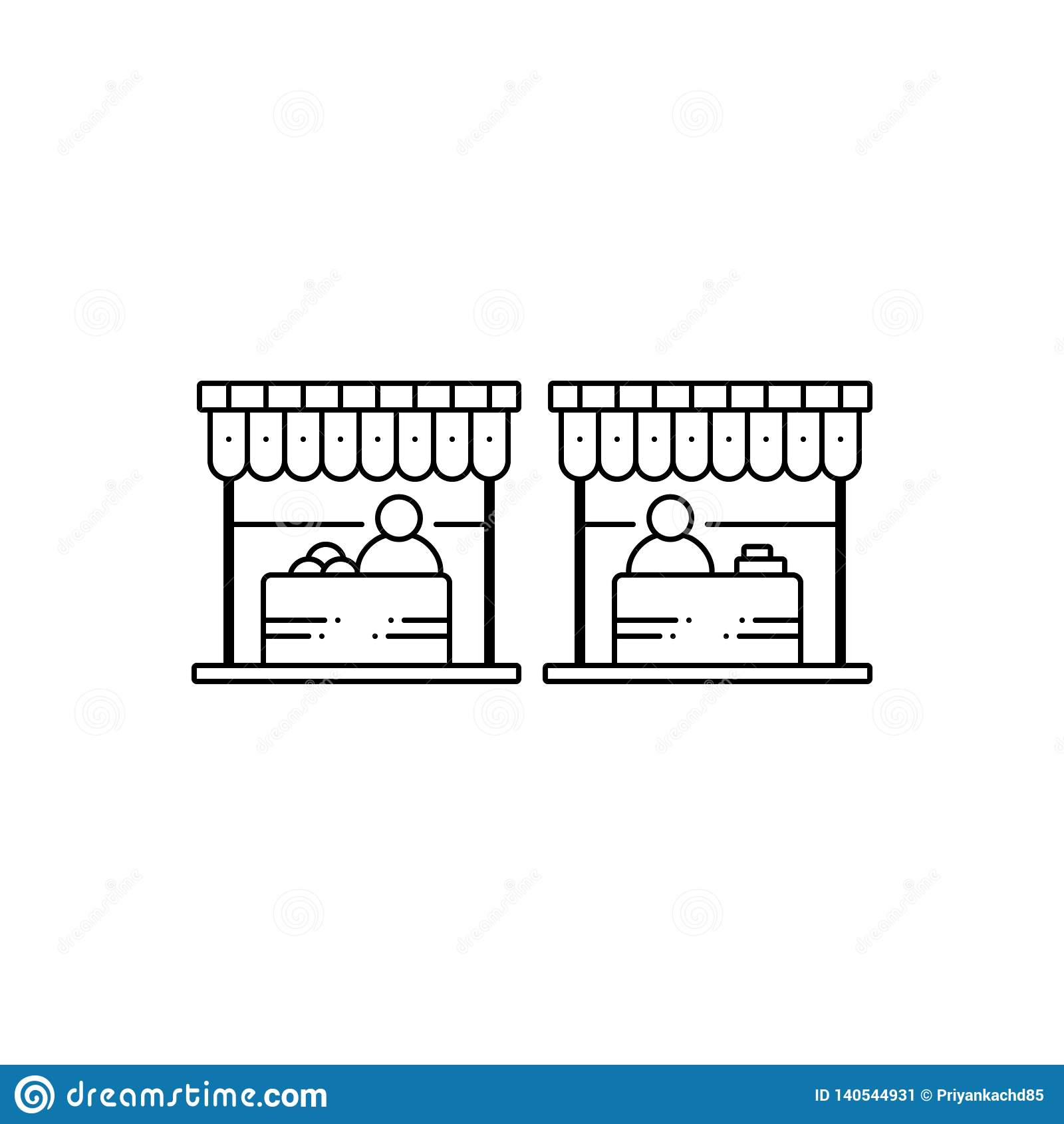 Ligne noire icône pour le marché, la vente et le bazar