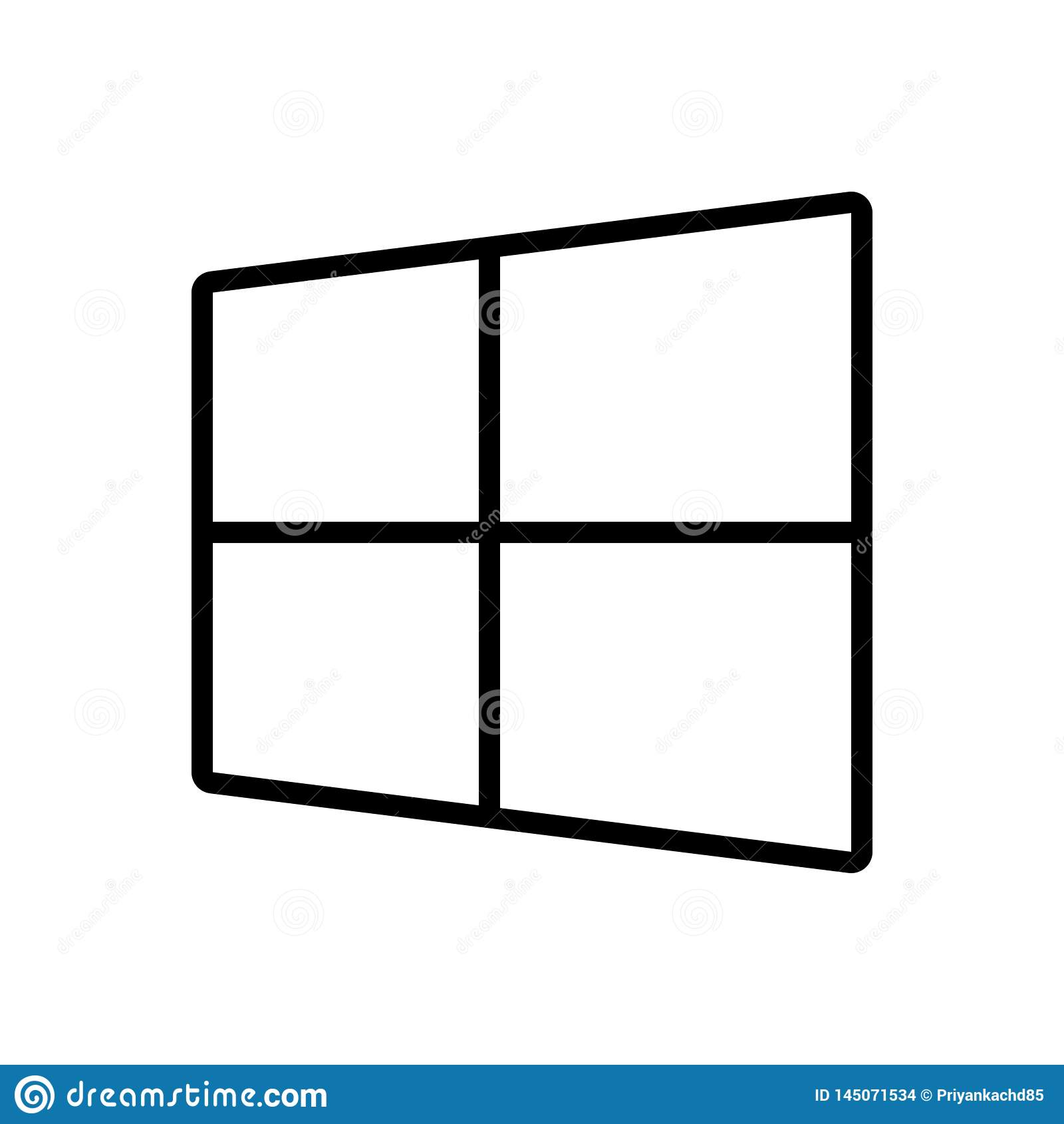 Ligne noire icône pour Microsoft, le logiciel et le site Web
