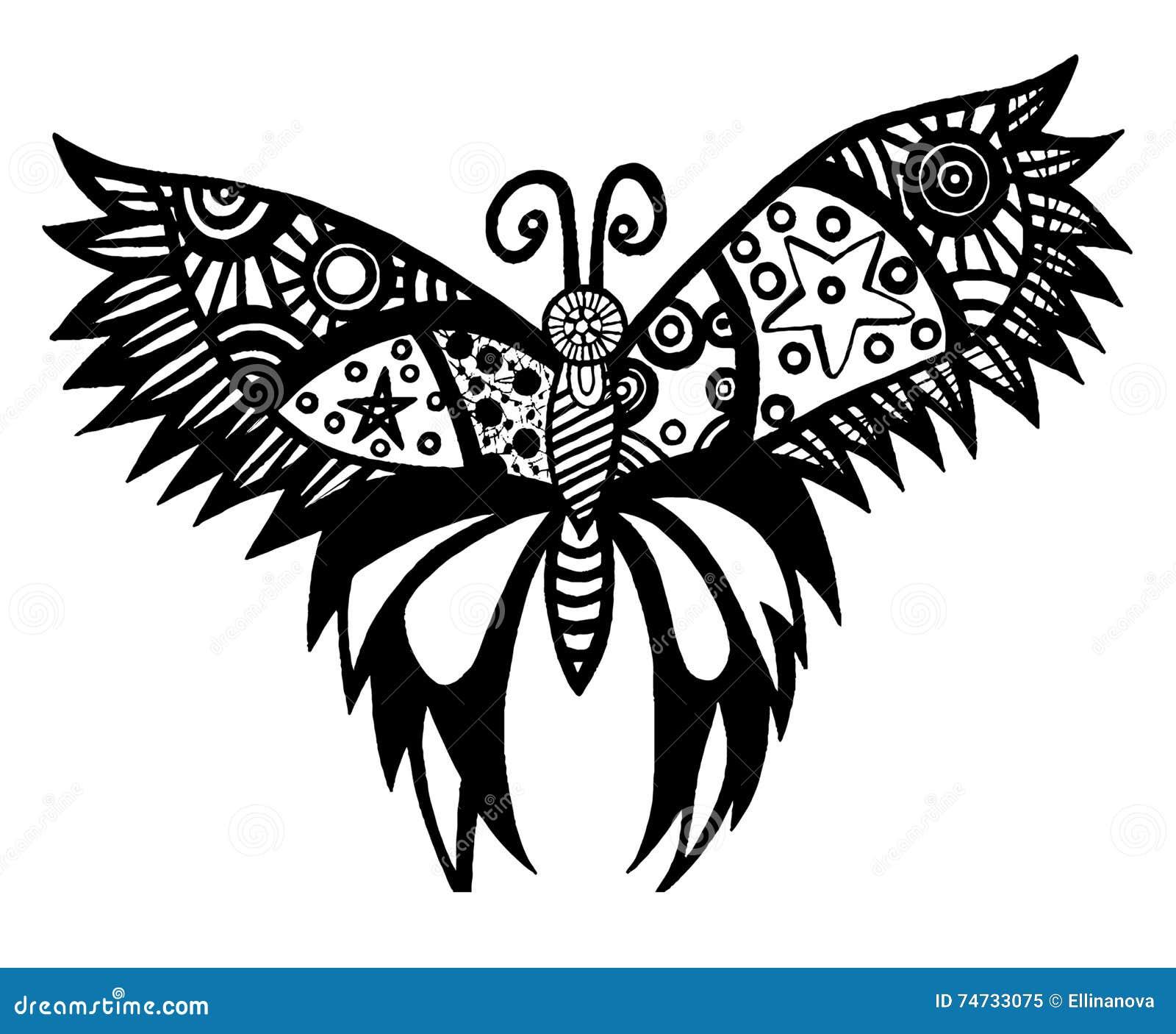 Ligne Noire Papillon Pour Le Tatouage Livre De Coloriage