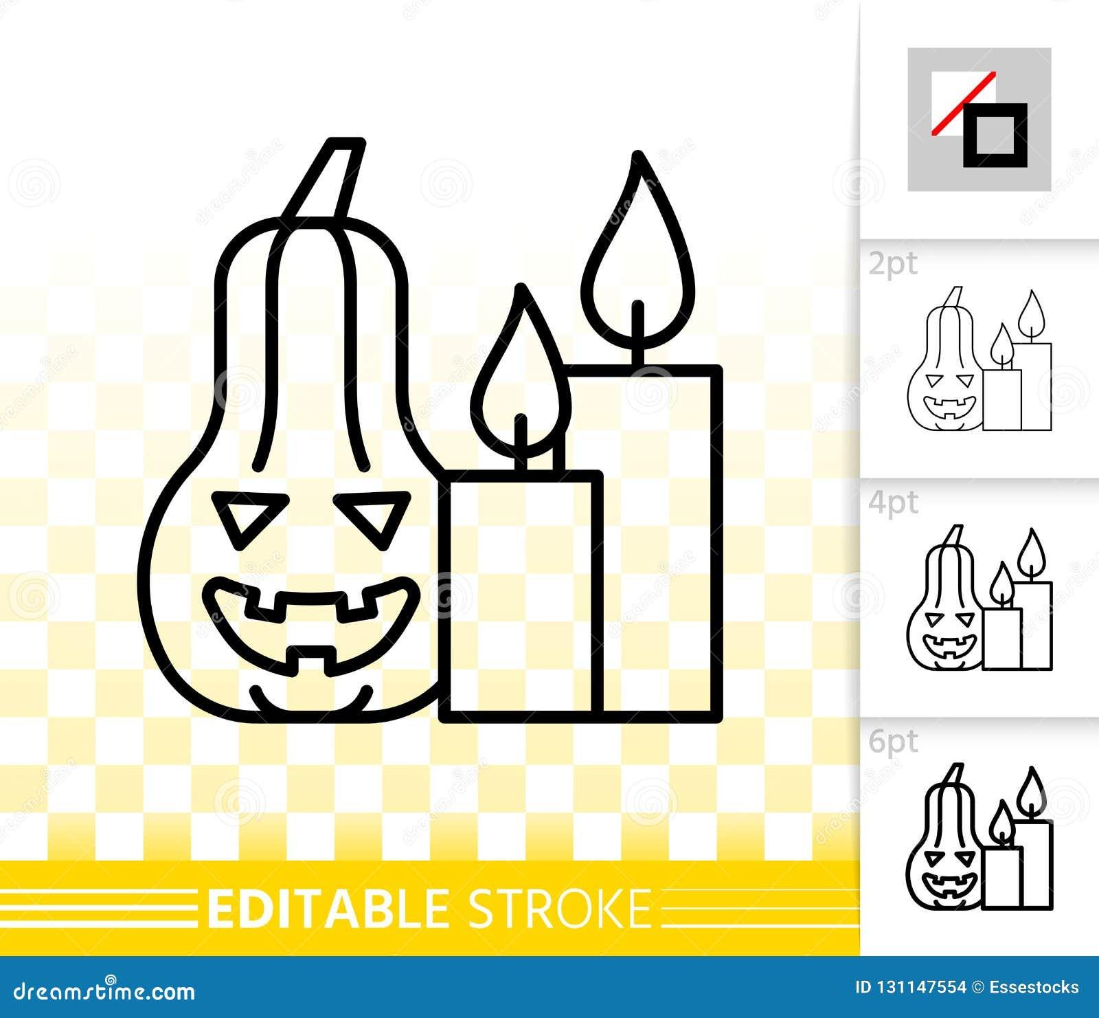 Ligne noire simple icône de potiron de Halloween de vecteur