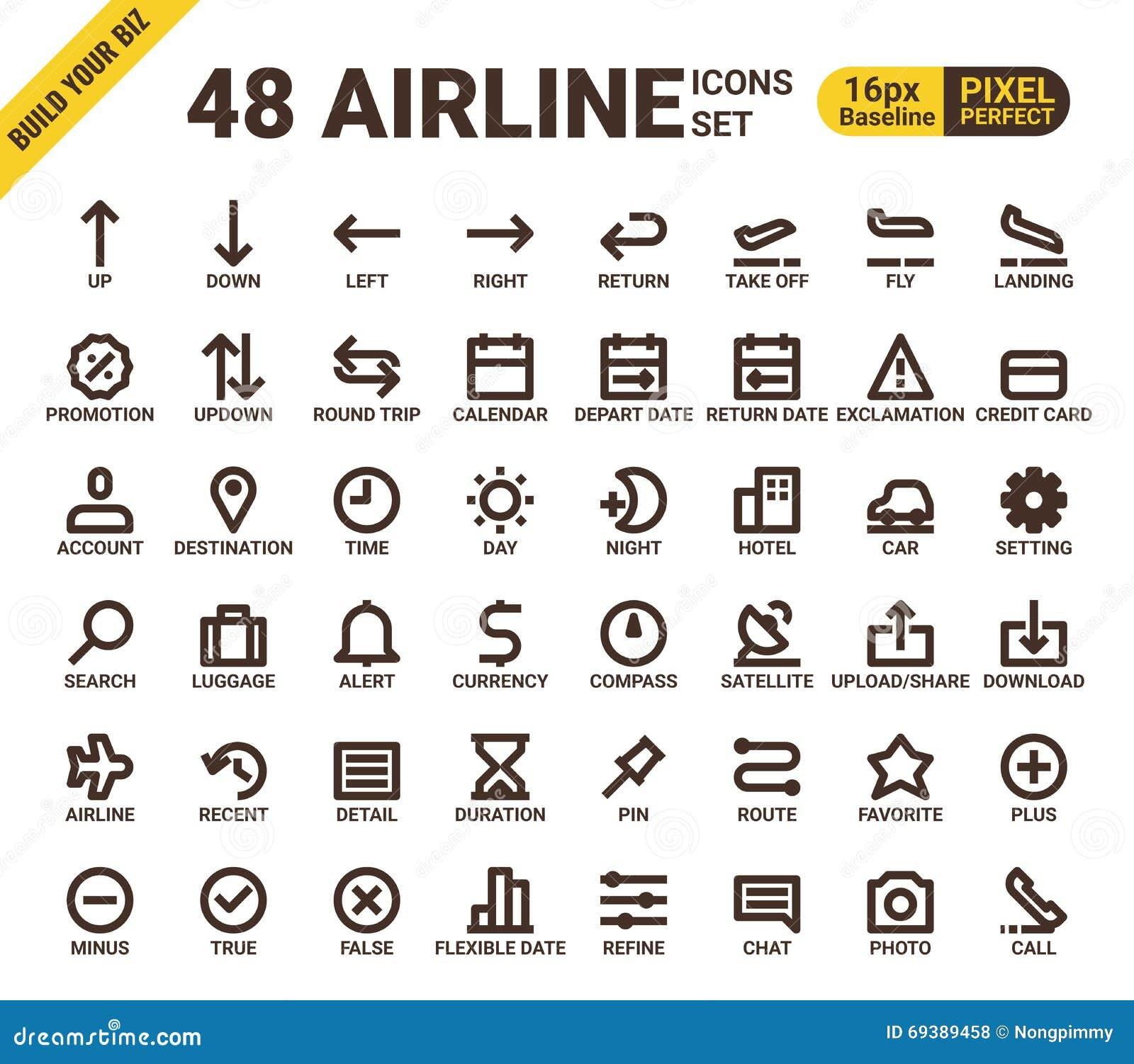 Ligne parfaite icônes de pixel universel de Web de ligne aérienne