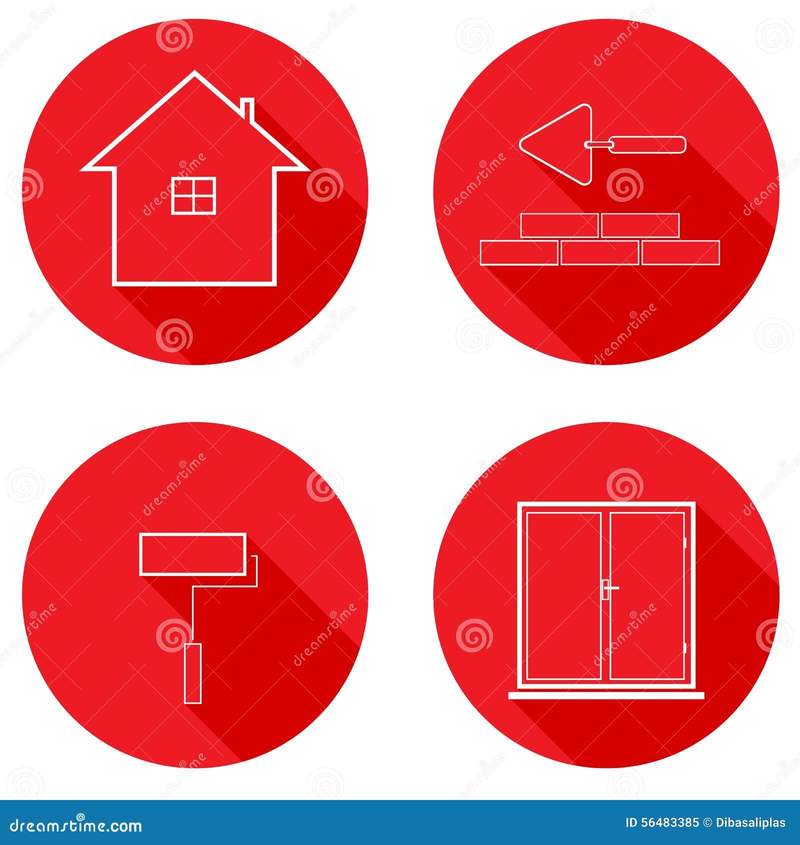 Ligne plate construction d icônes de logement