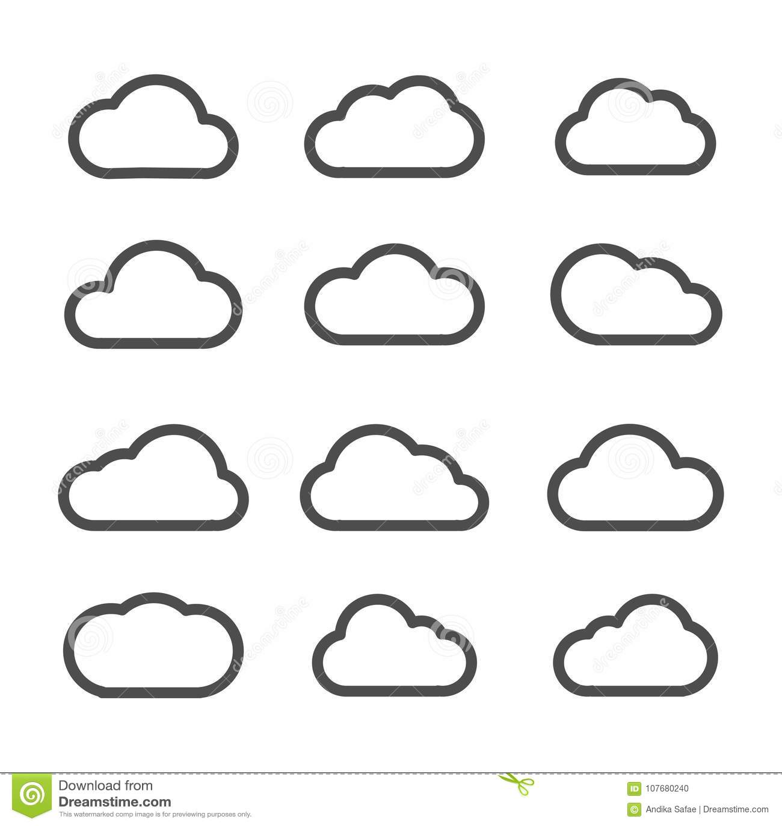 Ligne plate d icônes de nuage noir réglé sur le fond blanc