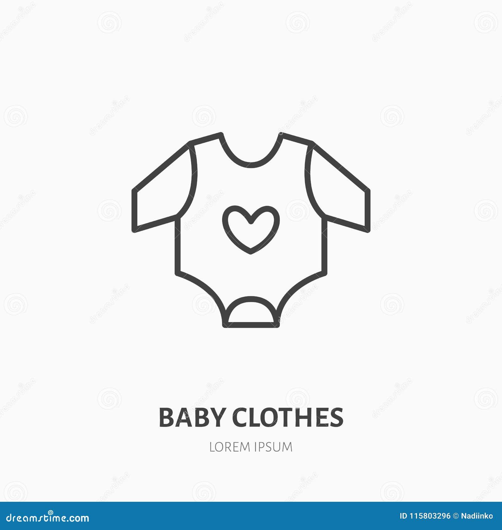 28a7d27a30557 Ligne plate icône de combinaison de bébé Signe de magasin d habits d  enfants Logo linéaire