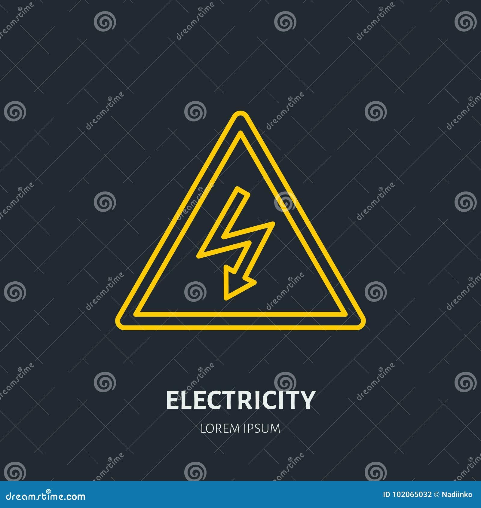 Ligne plate icône de l électricité Signe à haute tension de danger Avertissant, illustration électrique de sécurité