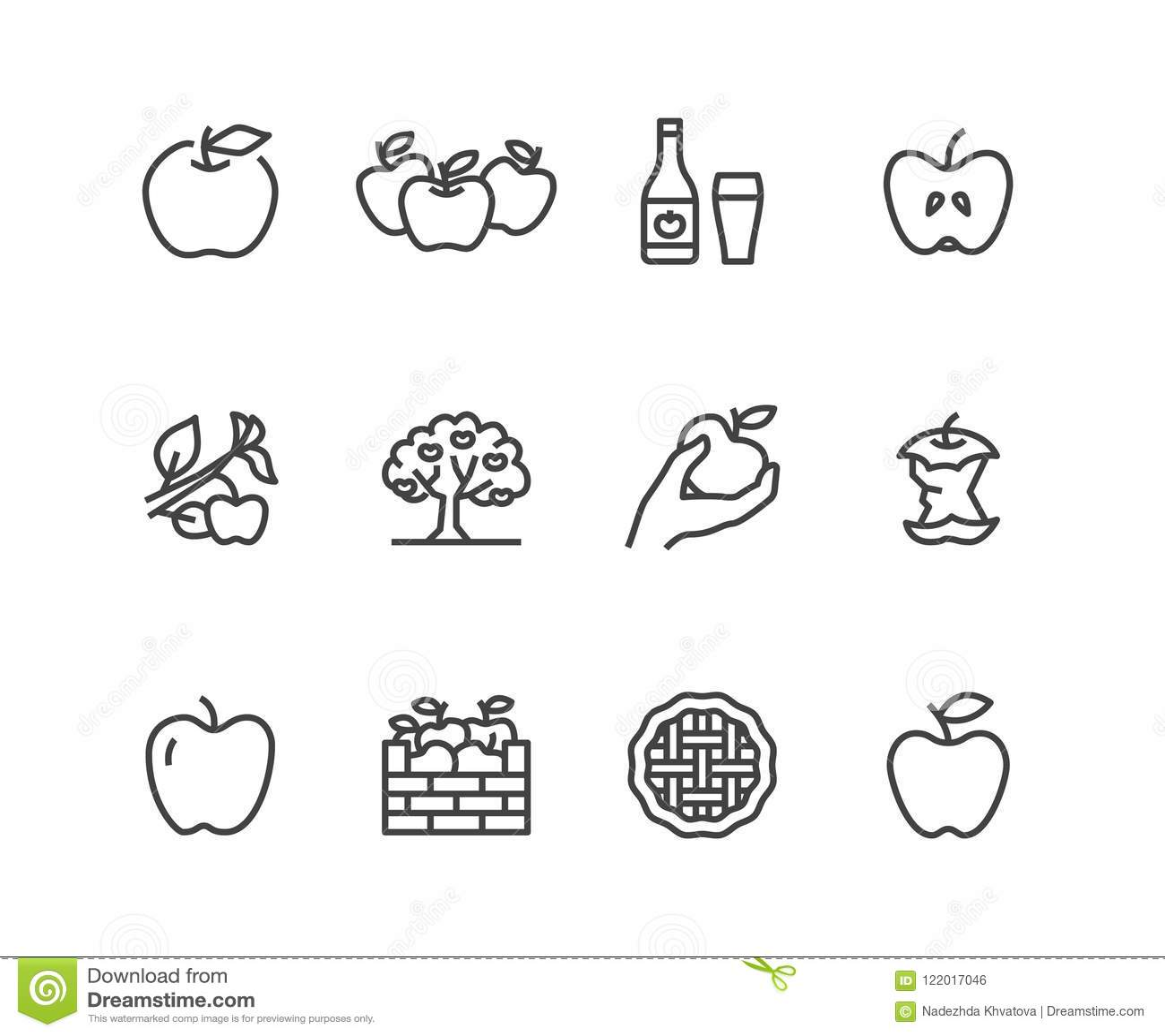 Ligne plate icônes de pommes Cueillette d Apple, festival de récolte d automne, illustrations de cidre de fruit de métier Signes