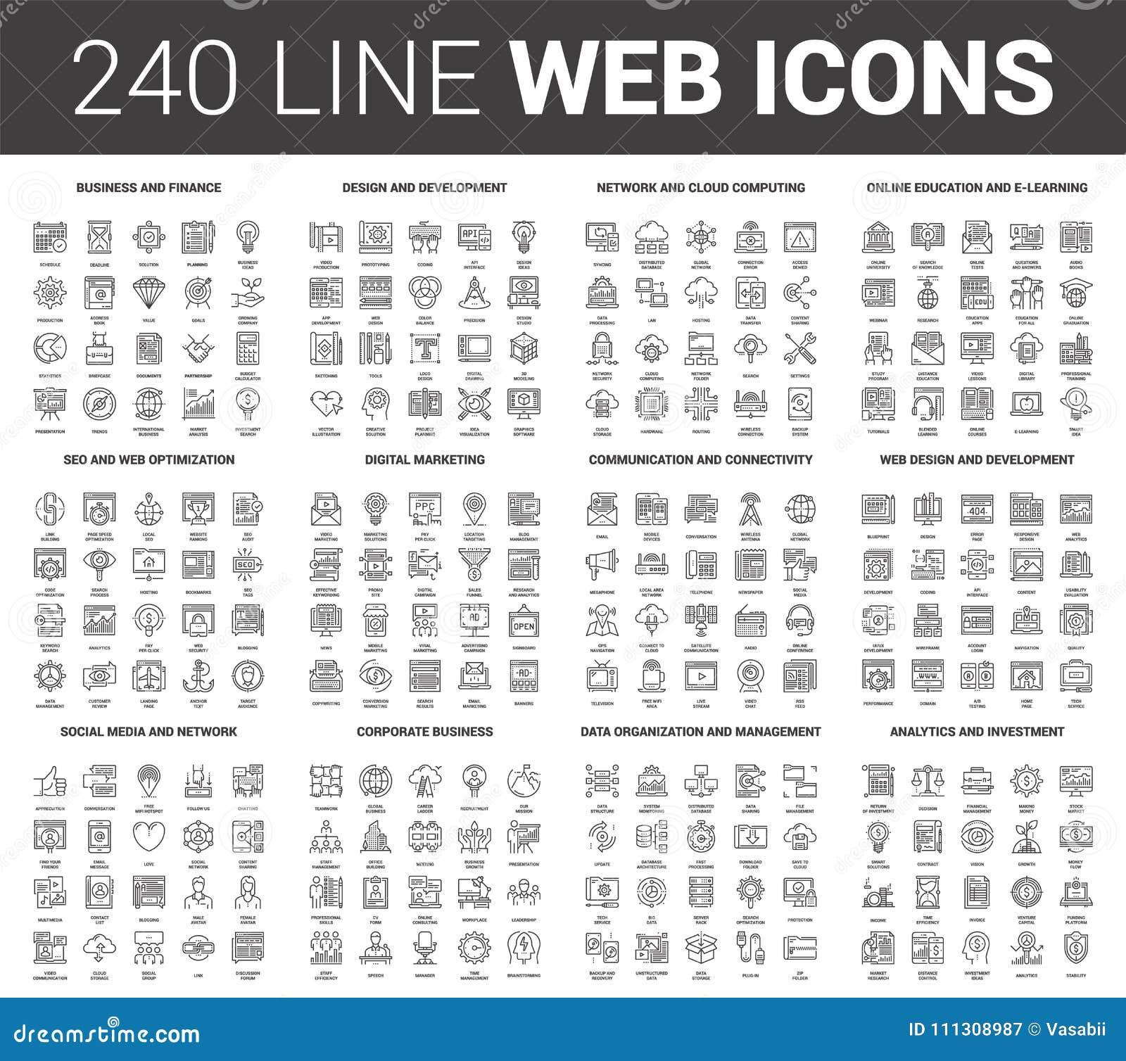 Ligne plate icônes de Web