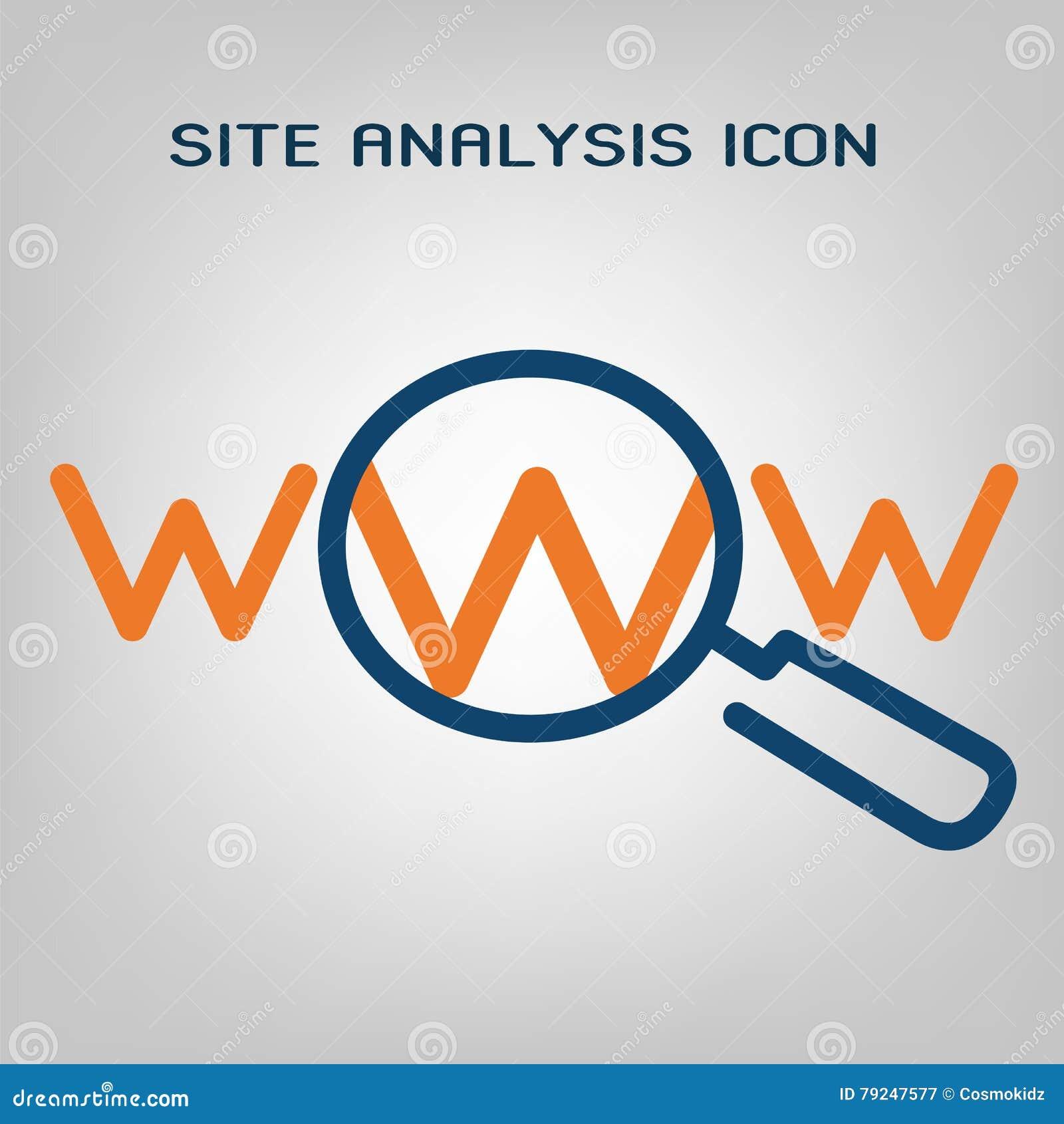 Ligne plate icône d analyse de site Balayage de SEO (optimisation de moteur de recherche) Lignes bleues et oranges laconiques sur