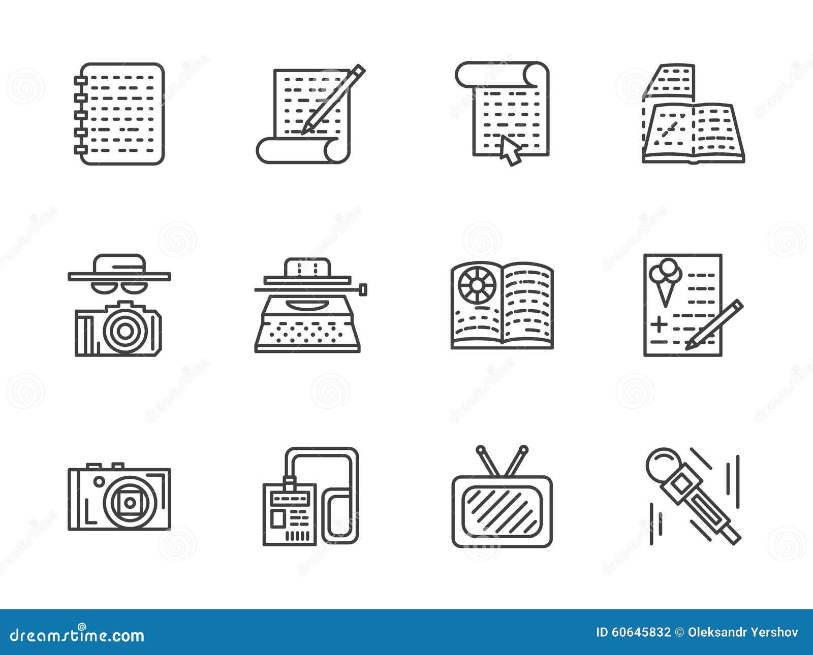 Ligne plate icônes de journalisme réglées