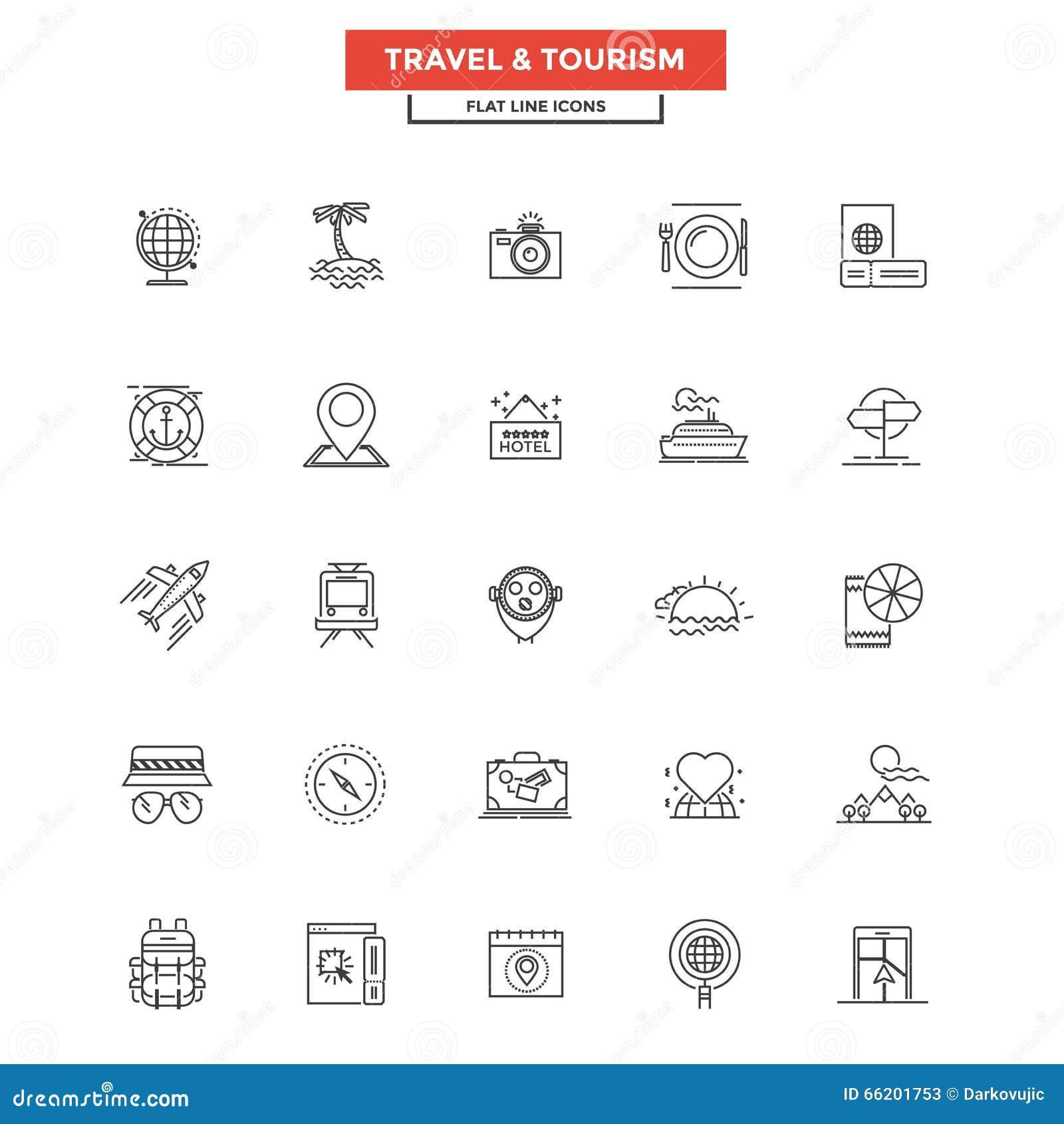 Ligne plate voyage et tourisme d icônes