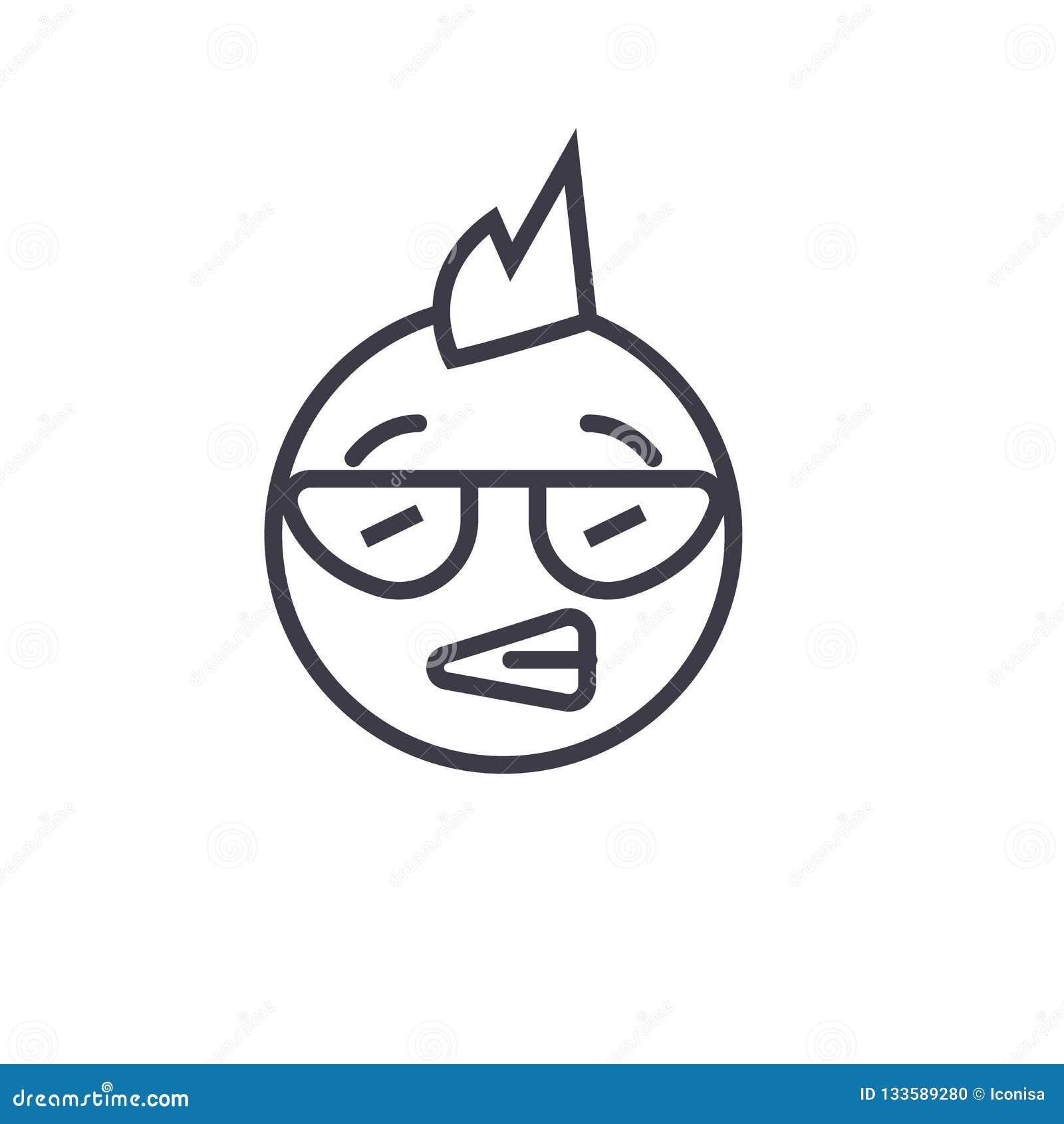 Ligne punk vecteur editable, icône de concept d Emoji de concept Illustration linéaire d émotion de concept punk d Emoji