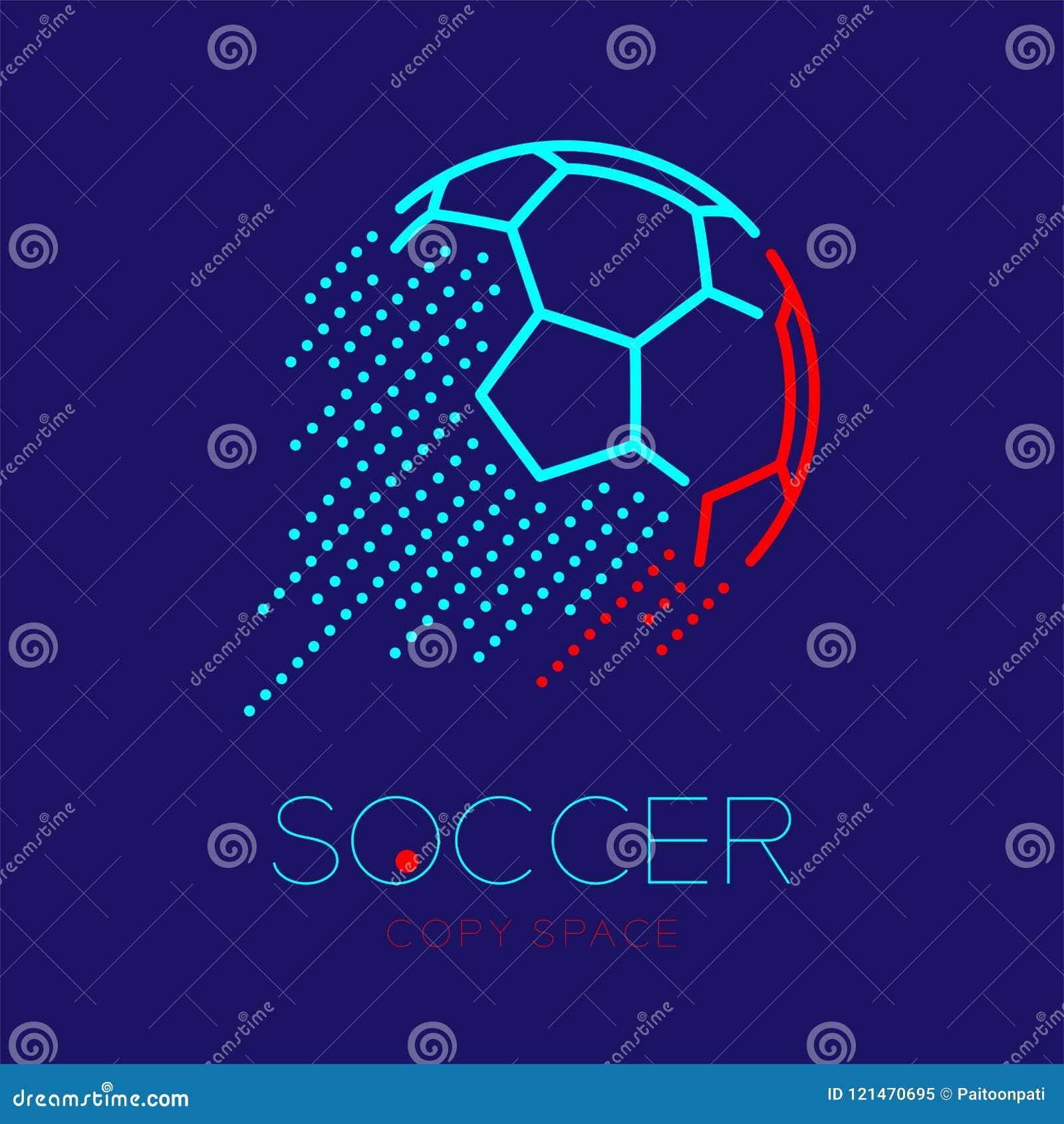 Ligne réglée illustration de tiret de course d ensemble d icône de logo de tir de ballon de football de conception