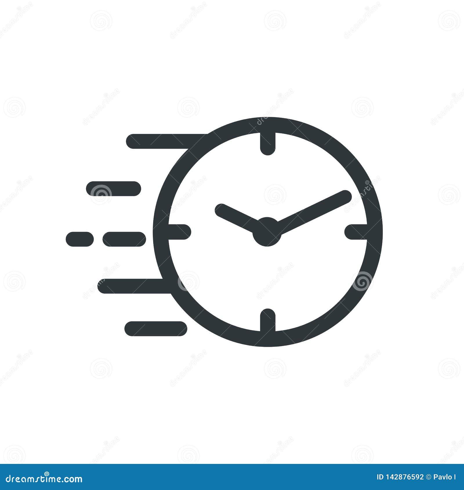 Ligne rapide ic?ne de chronom?tre Signe rapide de temps Urgence de symbole d horloge de vitesse, date-butoir, gestion du temps, s
