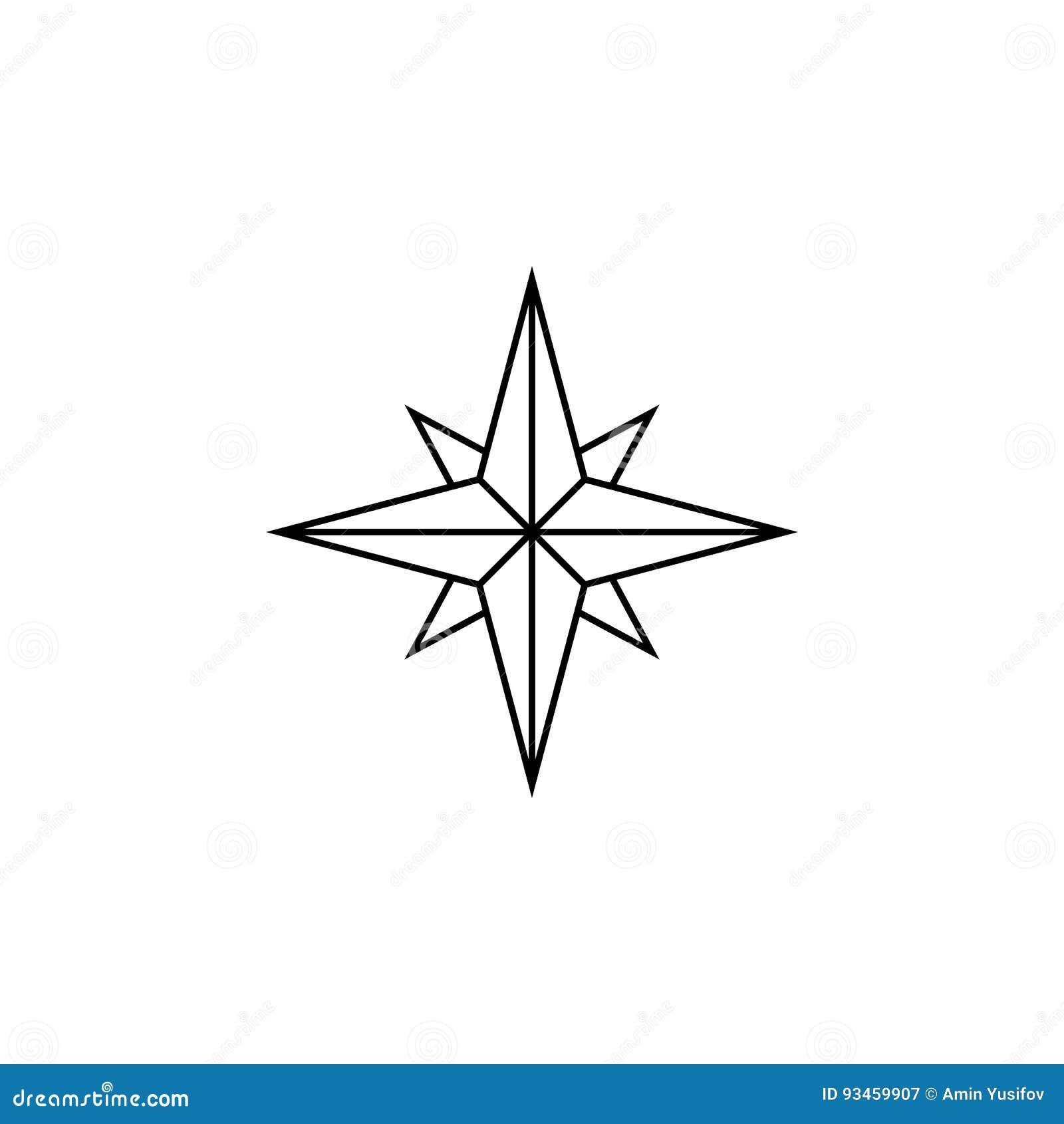 Ligne rose de vent icône, navigation et boussole