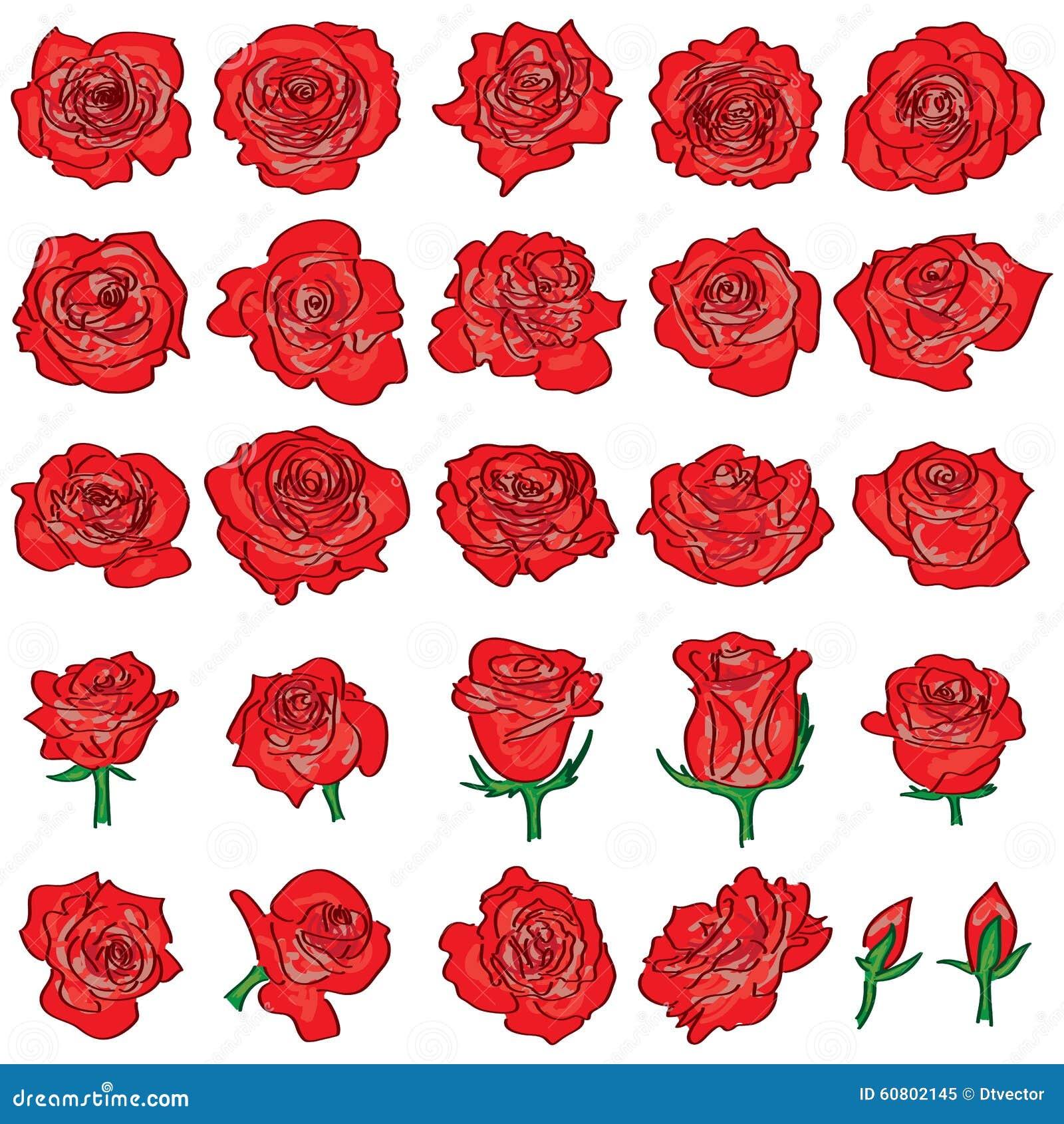 Ligne rouge ensemble de dessin de rose illustration de - Dessin de rose rouge ...
