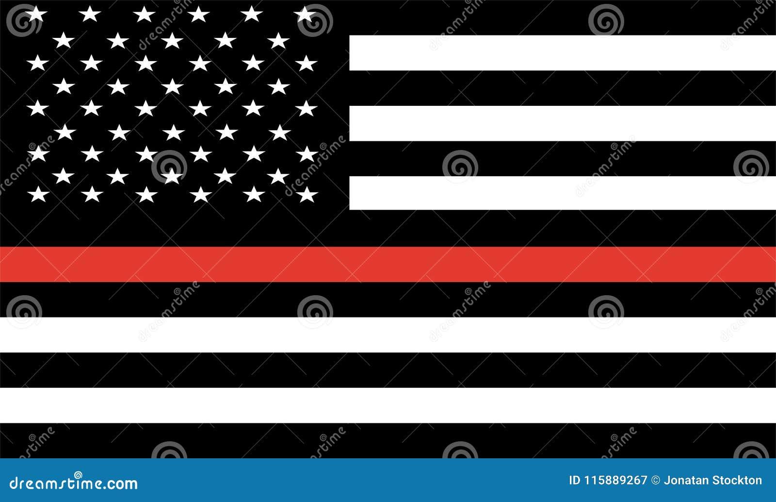 Ligne rouge mince sapeur-pompier Flag Vector Indicateur des Etats-Unis