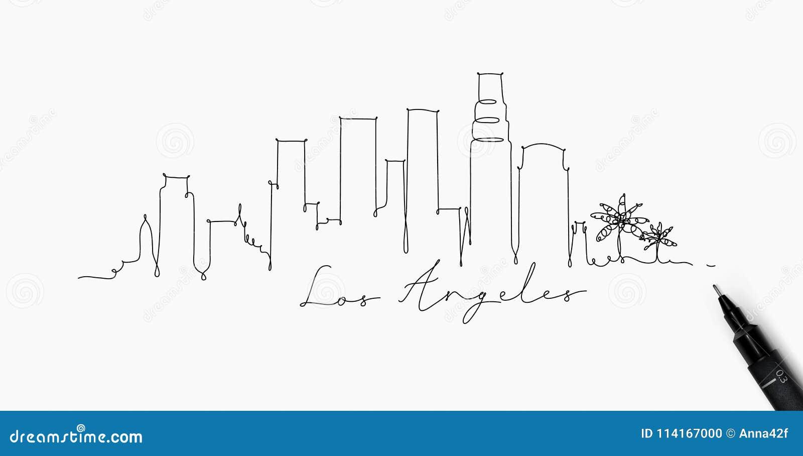 Ligne silhouette Los Angeles de stylo