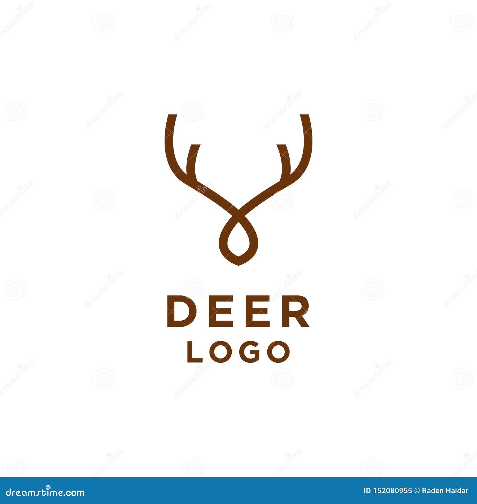 Ligne style minimaliste de logo de cerfs communs