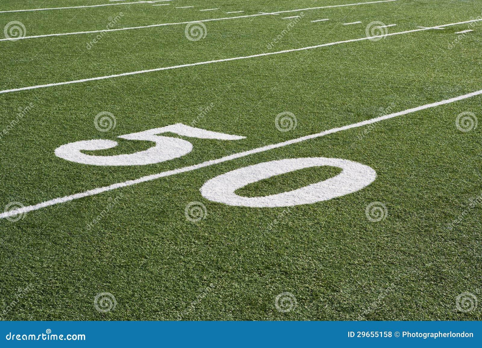 Ligne 50 sur le champ de football américain