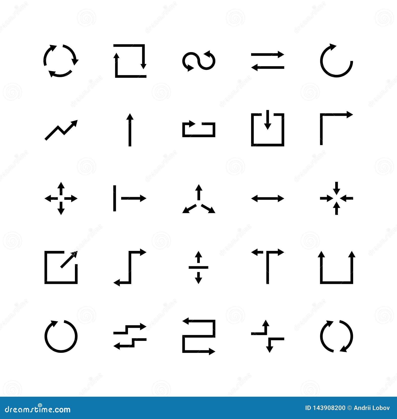 Ligne symboles de commercialisation sociaux d appli de site Web de flèche d ensemble d icônes de silhouette de flèche de vecteur