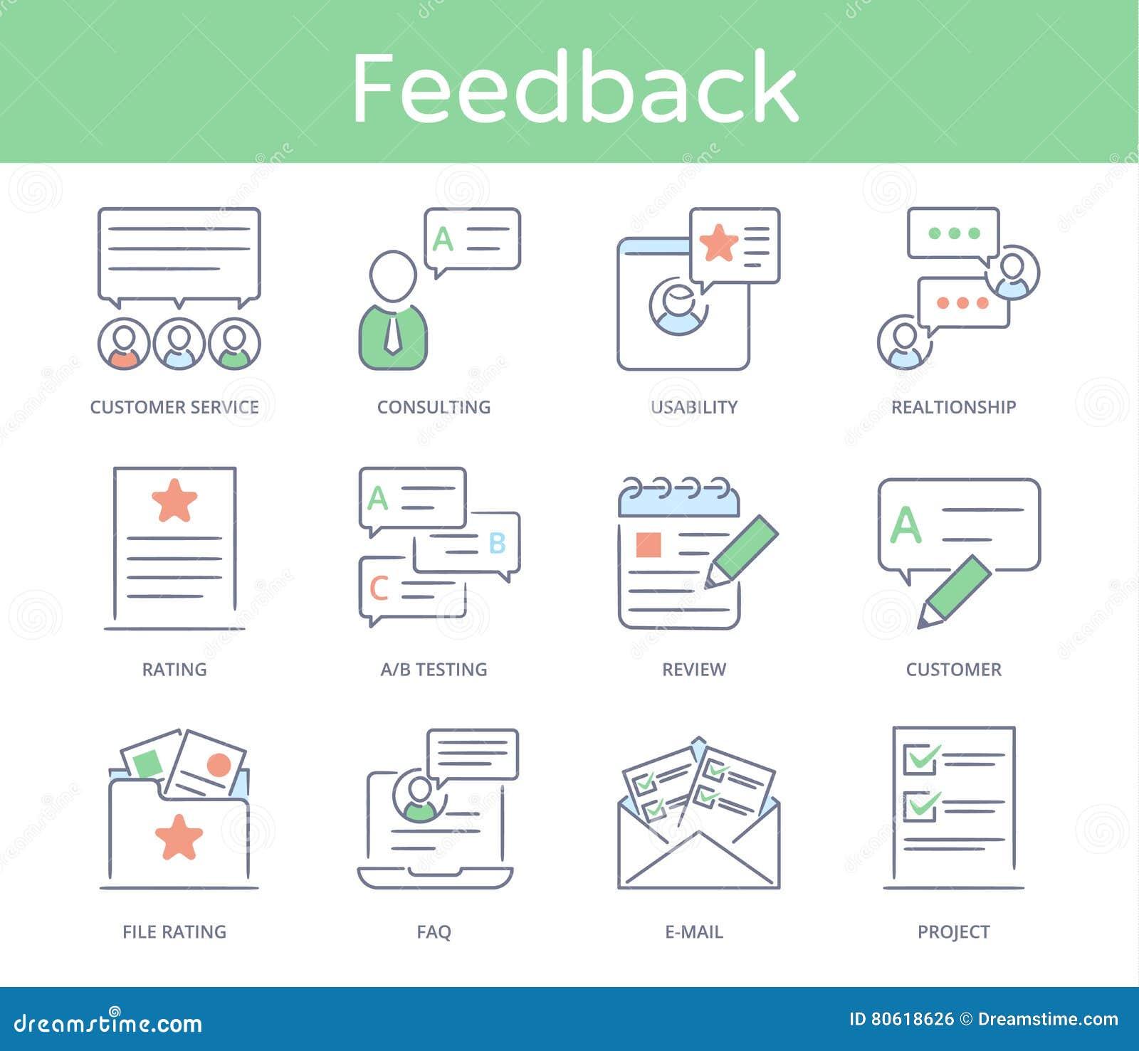 Ligne tirée par la main icône de style réglée : Service client, gestion de relations, rétroaction, éléments d affaires, solution
