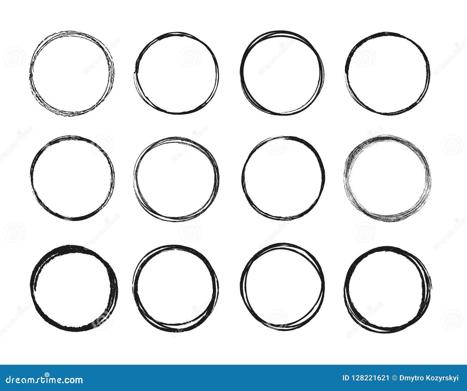 Ligne tirée par la main réglée ensemble de cercle de croquis Les cercles ronds de griffonnage circulaire de griffonnage pour la m