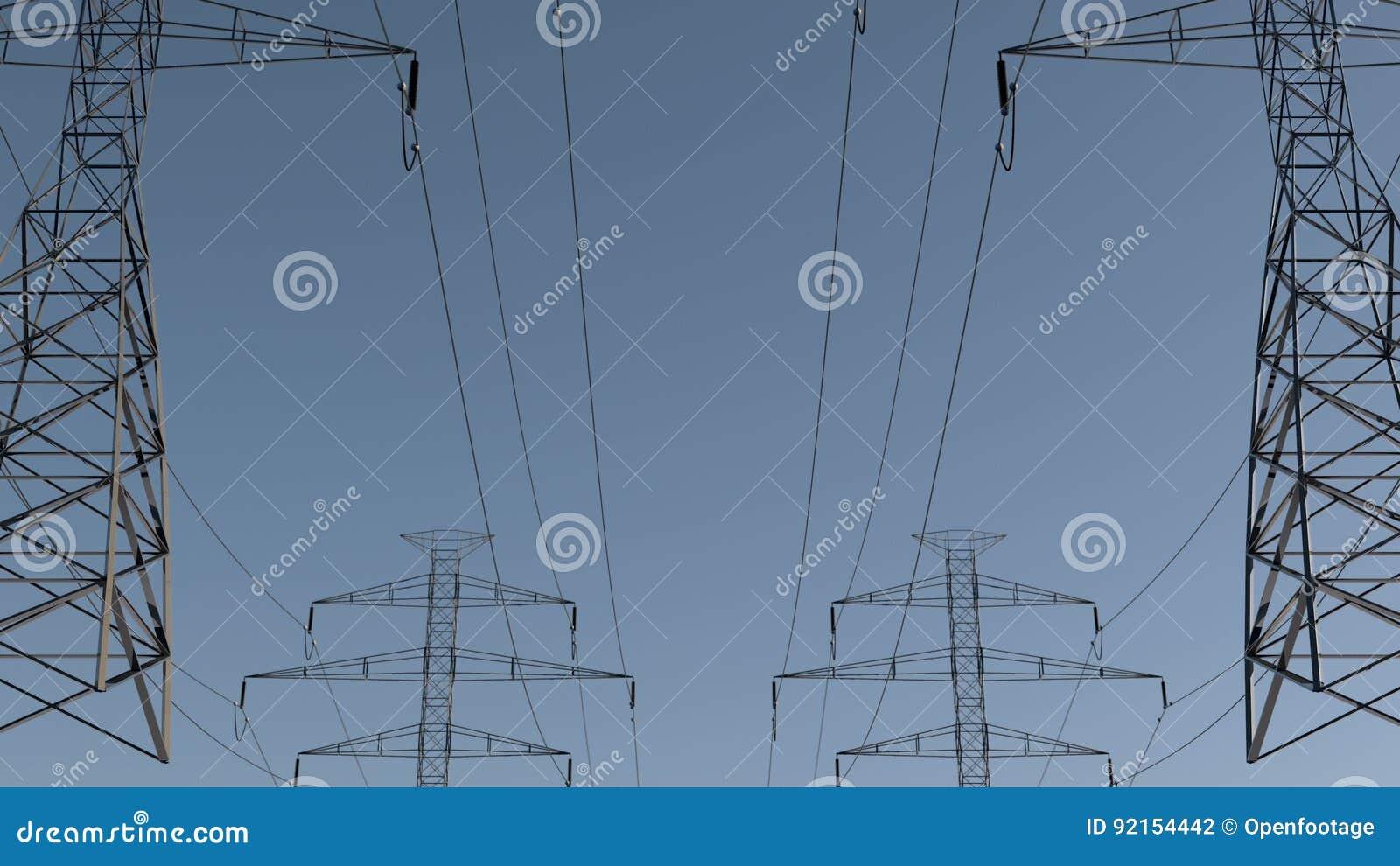 Lignes électriques Et Pylônes électriques Sous Le Ciel Conception D