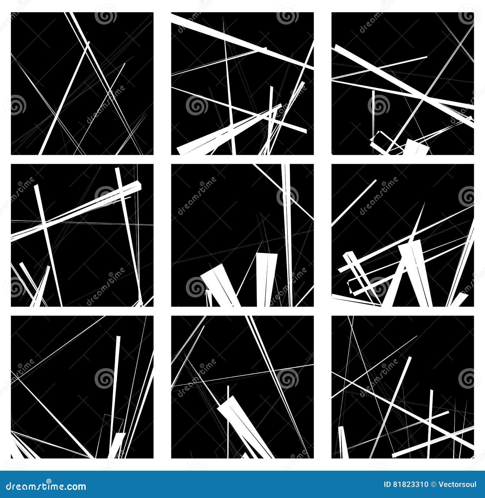 Lignes aléatoires ensemble artistique d élément/modèle Monochr non figural