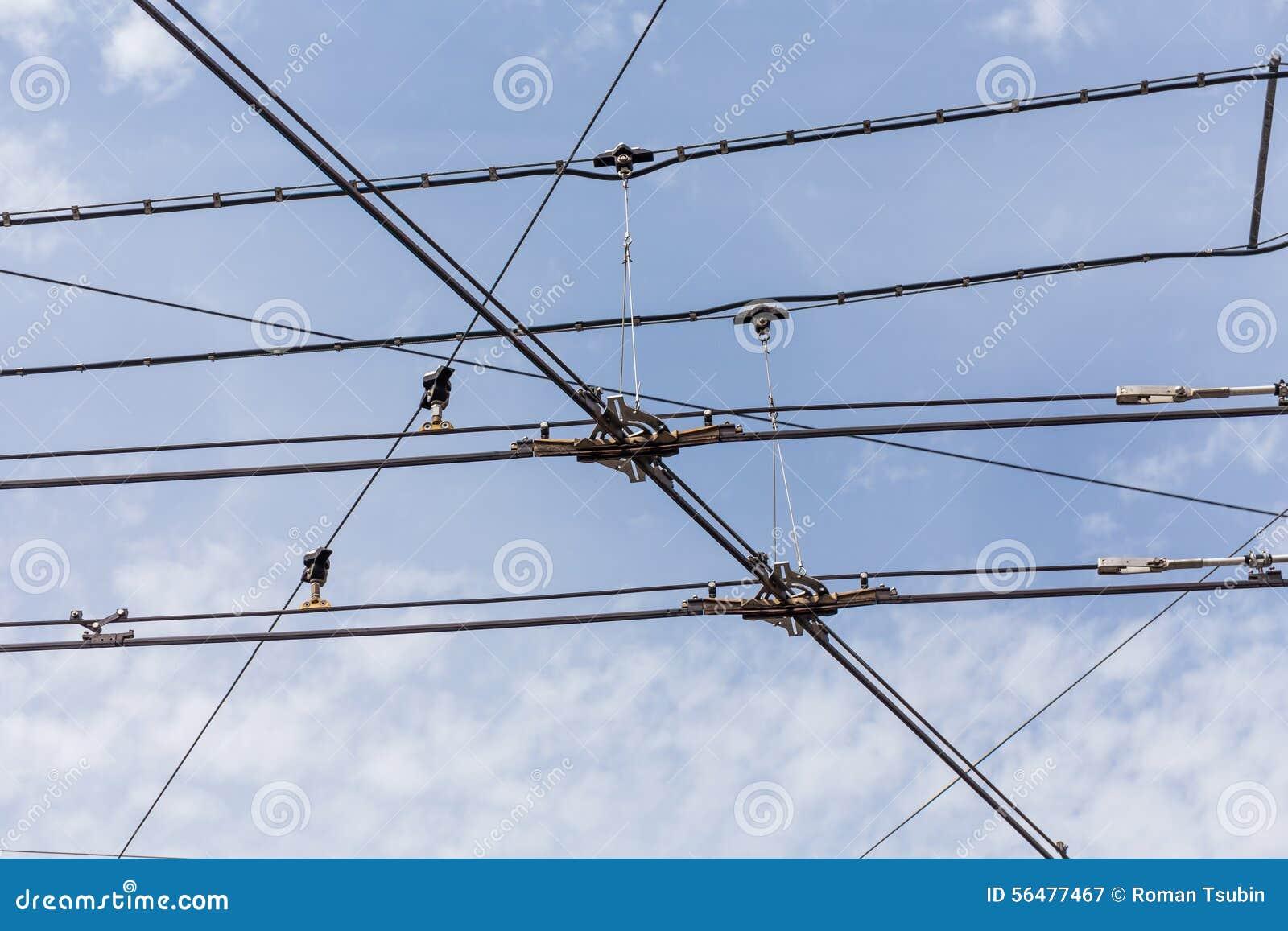 Lignes de câble de l électricité de trolleybus de chariot