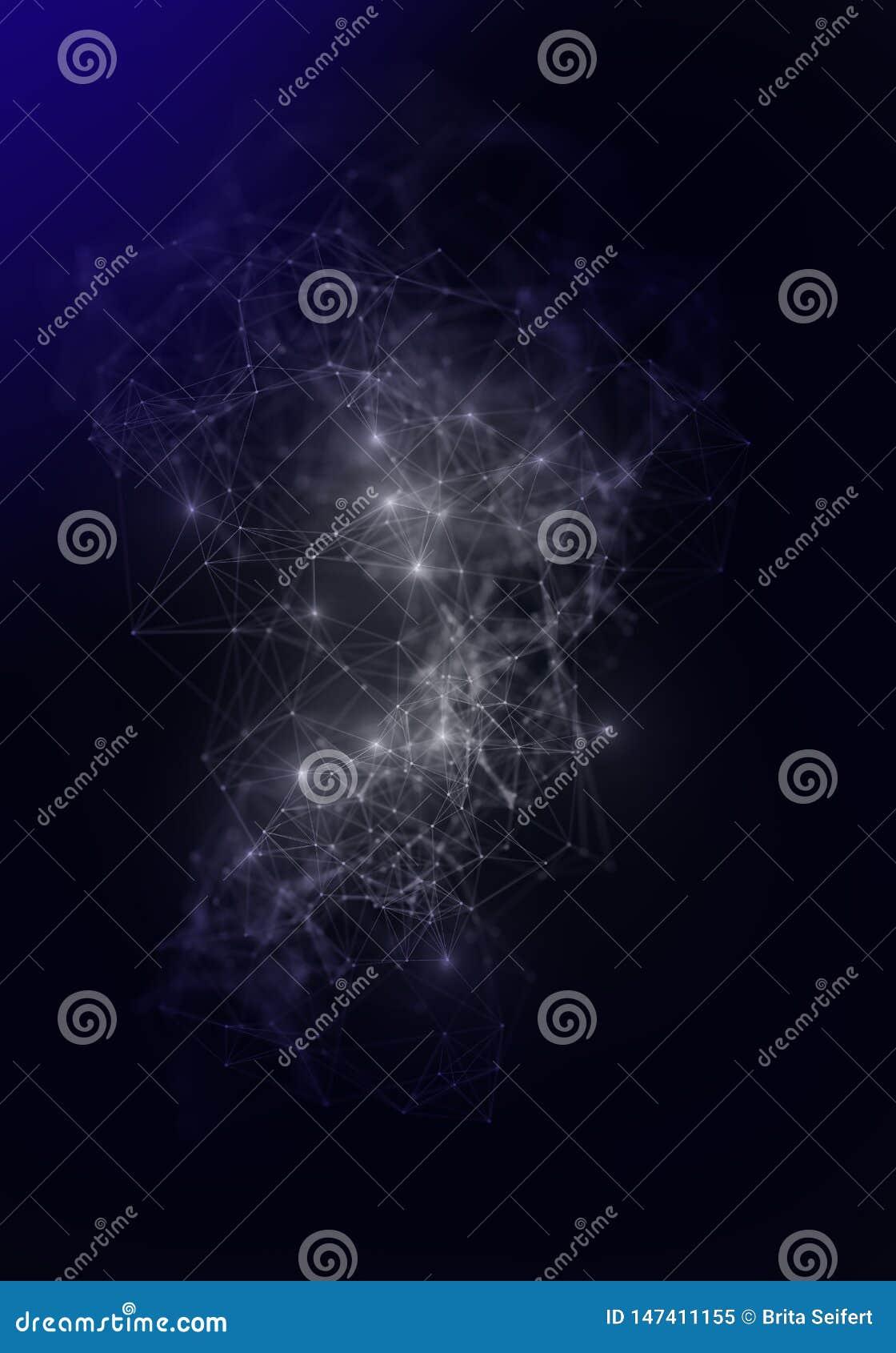 Lignes de plexus, points et faisceaux lumineux avec les points l?gers Fond abstrait de technologie, de science et d ing?nierie La