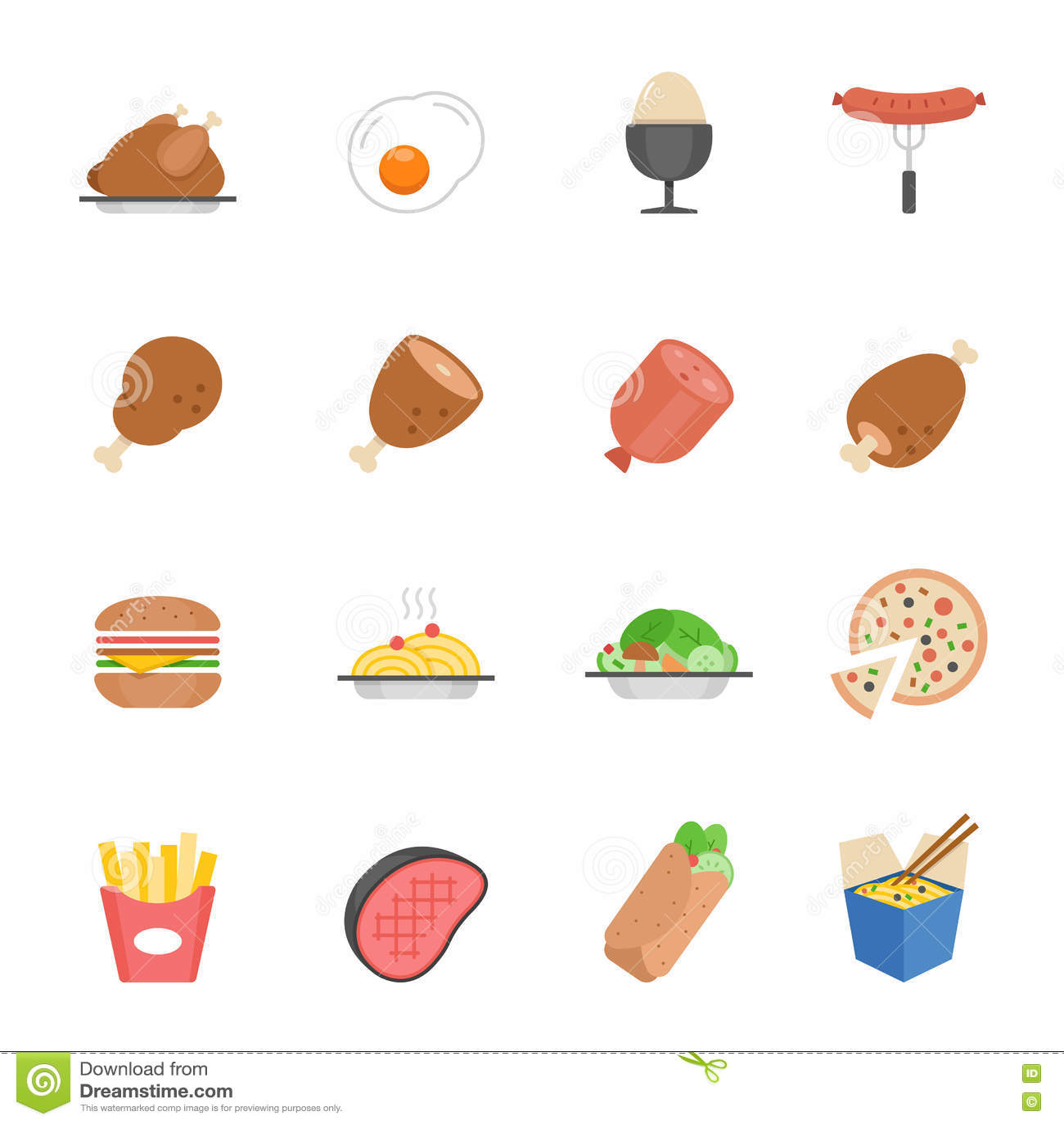 Lignes icône réglée - nourriture occidentale
