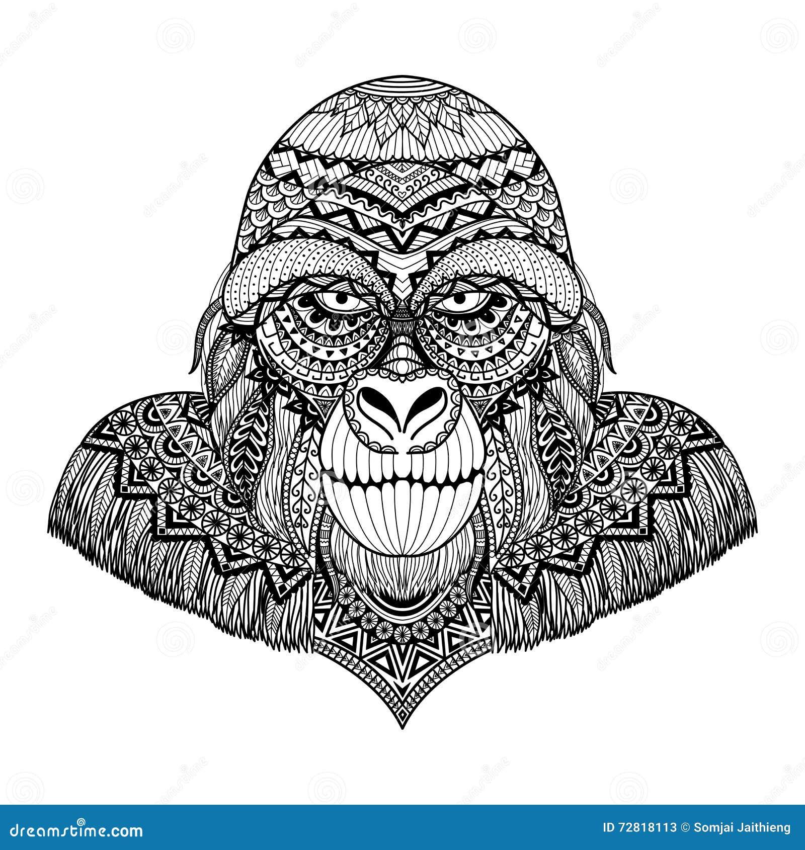 Coloriage Adulte Singe.Lignes Propres Conception D Art De Griffonnage De Gorille Pour