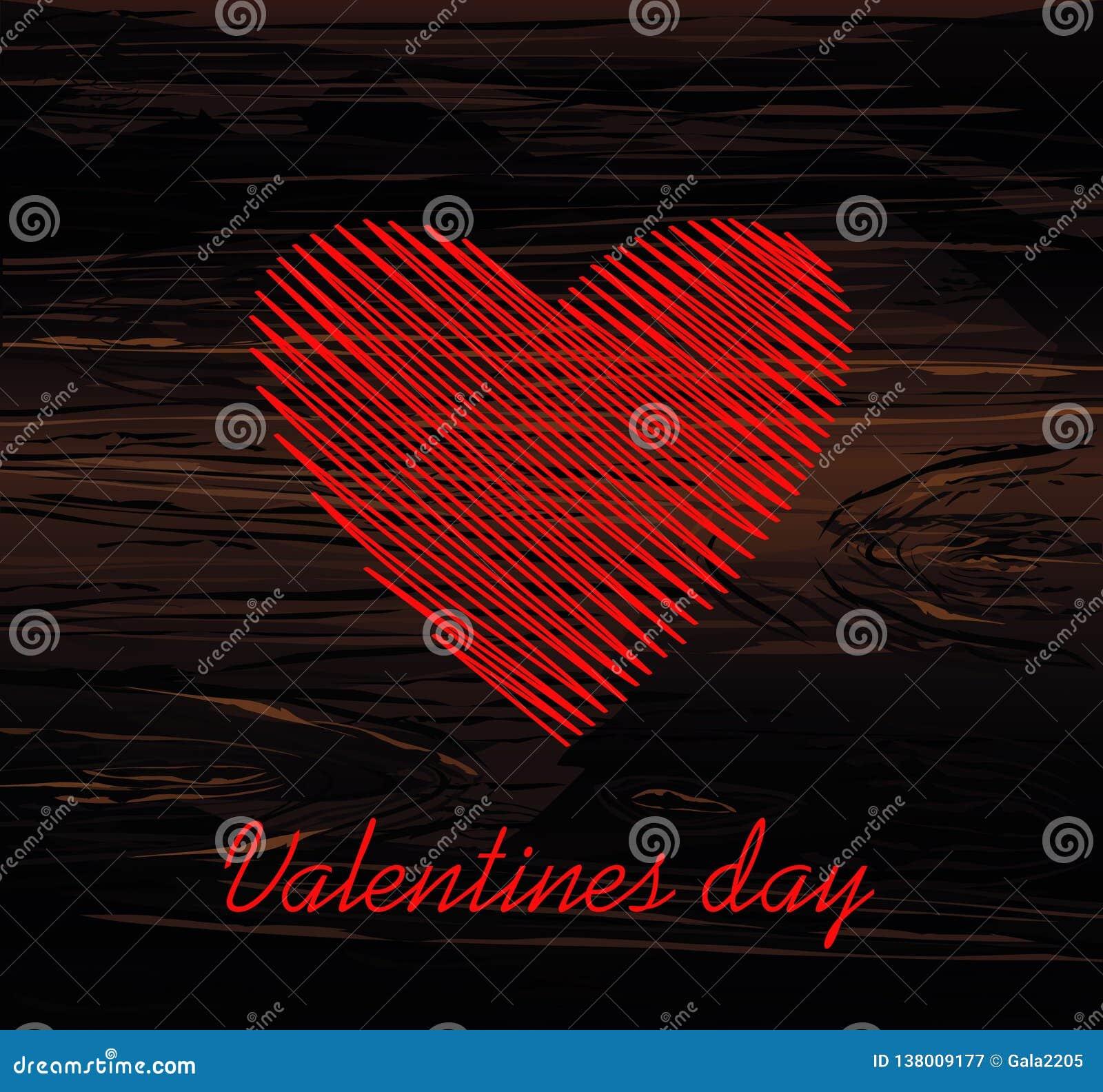 Lignes simples sous forme de coeur rouge pour la Saint-Valentin Concept de construction créateur Illustration de vecteur sur le f