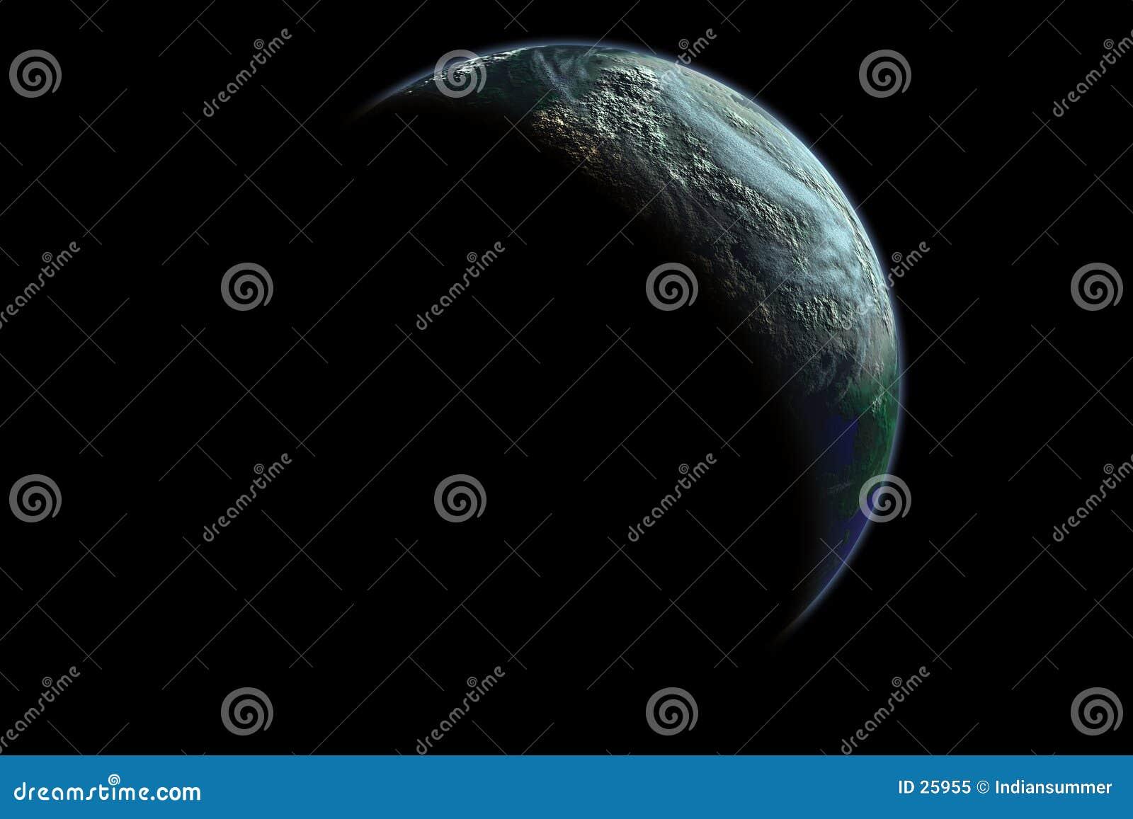 Ligue à terra o planeta no alvorecer