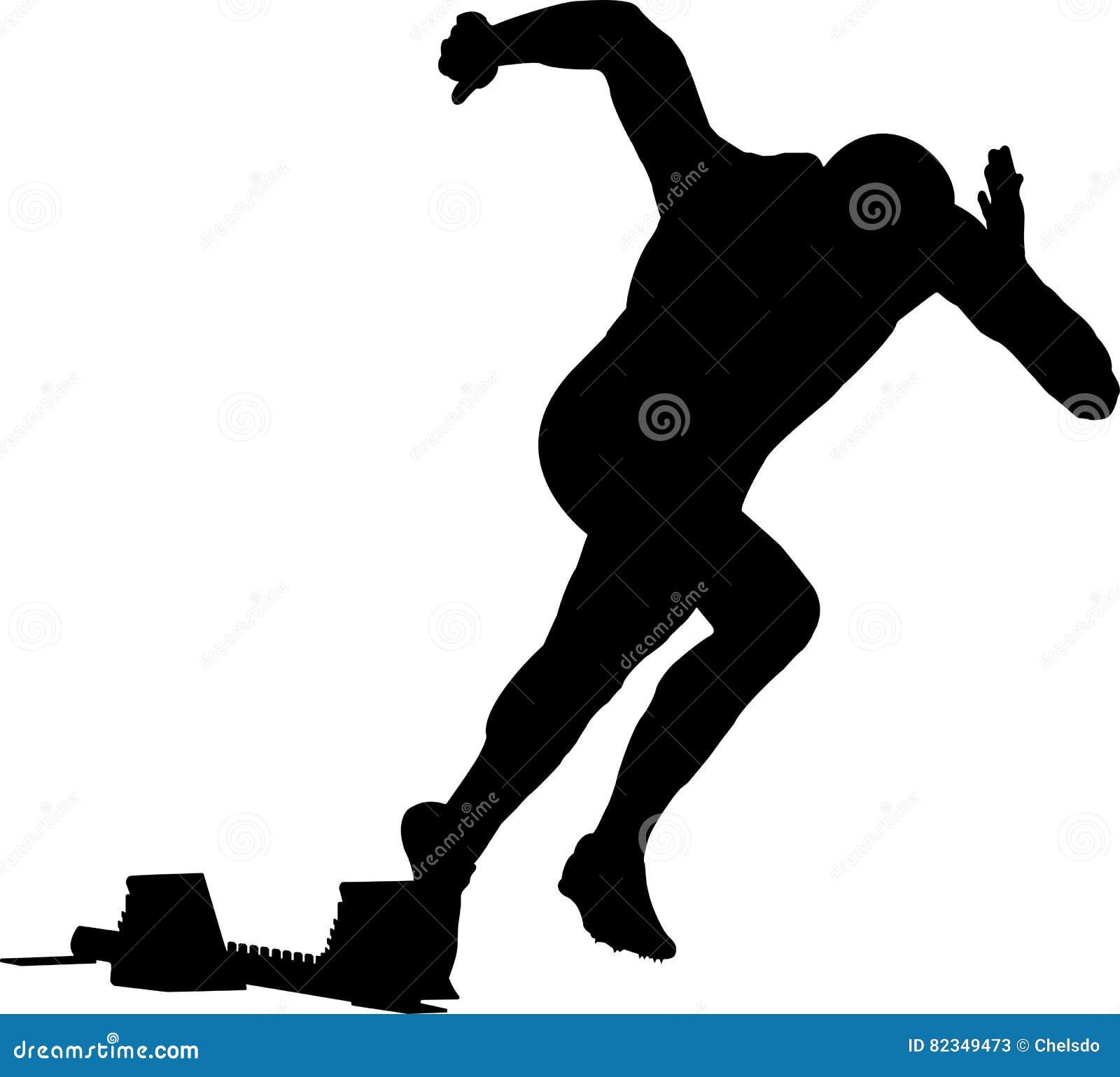 Ligue o corredor dos homens da sprint em blocos começar
