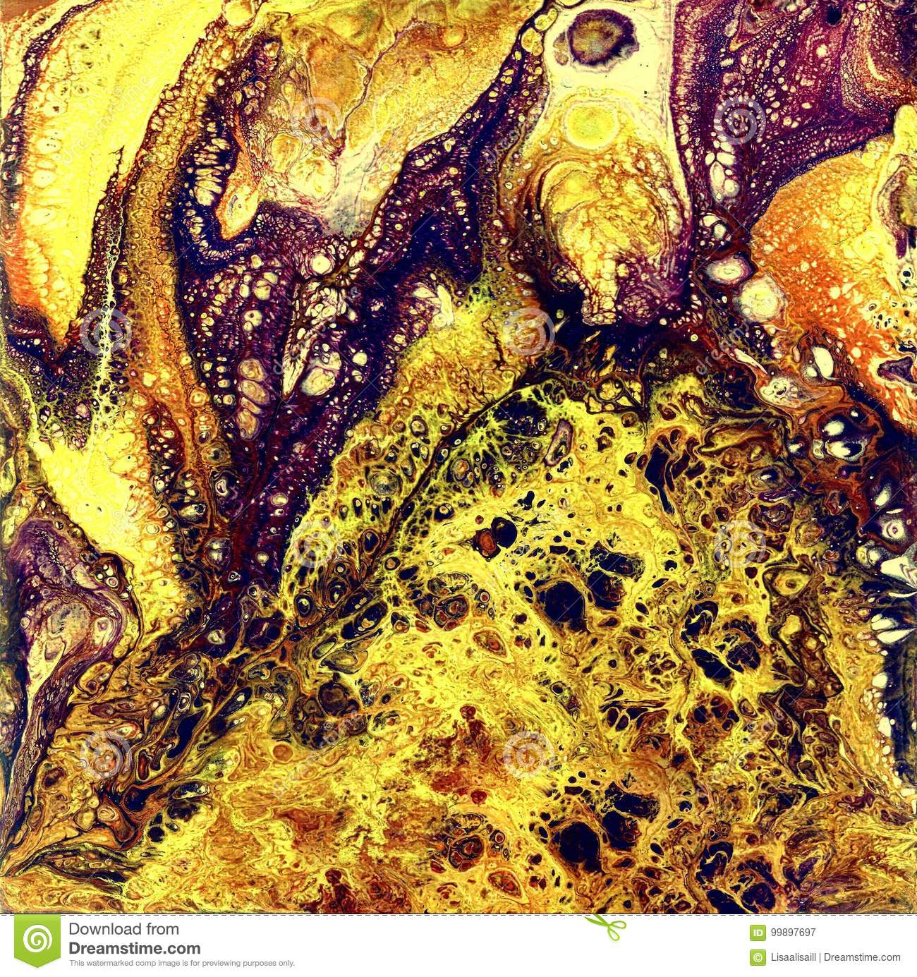 Liguid watercolor and ink abstract gold painting. Wet panted illustration, abstract background and wallpaper. Yellow