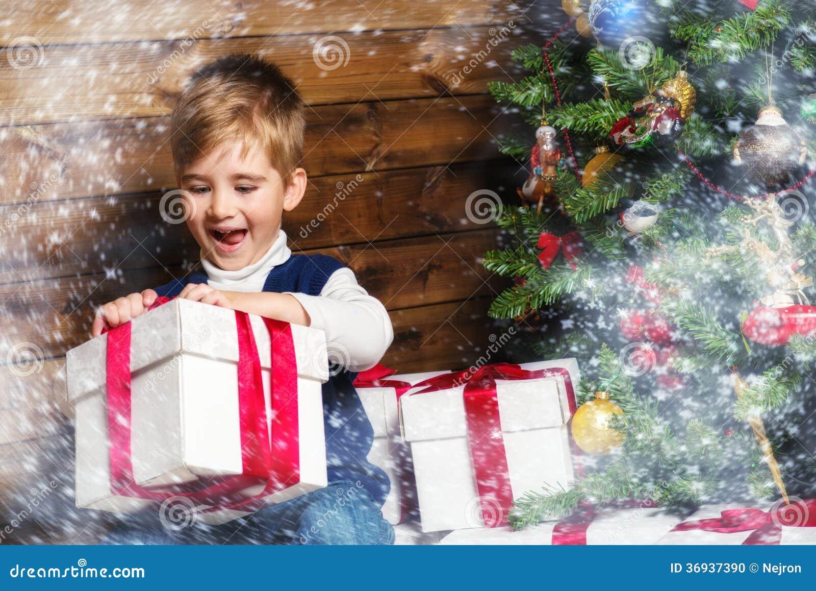 Liitle Boy Opening Gift Box Stock Photo Image Of Open