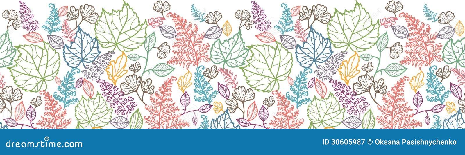 Lijn Art Leaves Horizontal Seamless Pattern