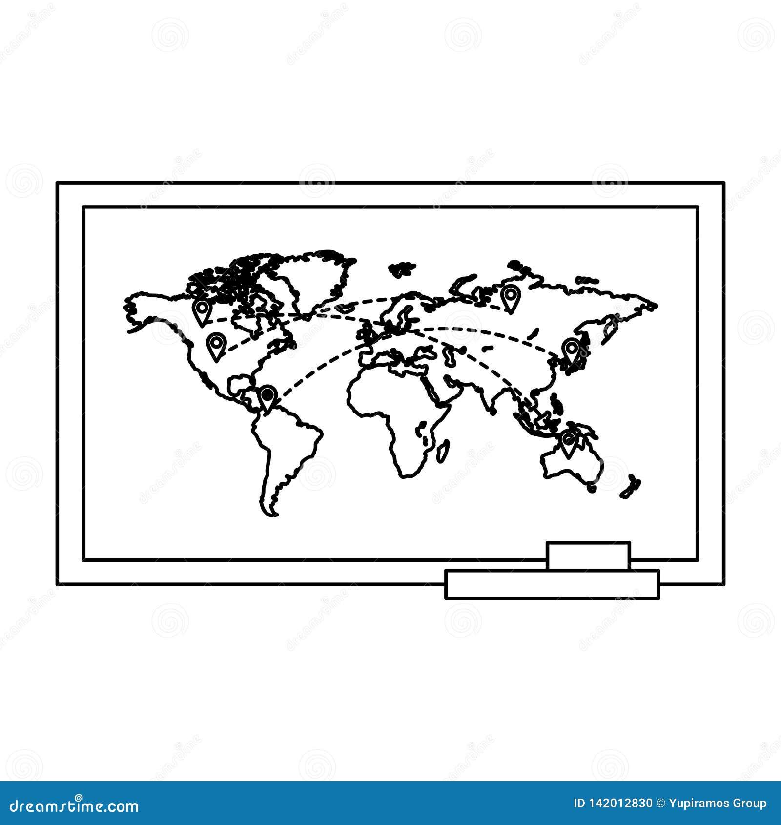 Lijn globale kaart met de bestemmingen van plaatsensymbolen