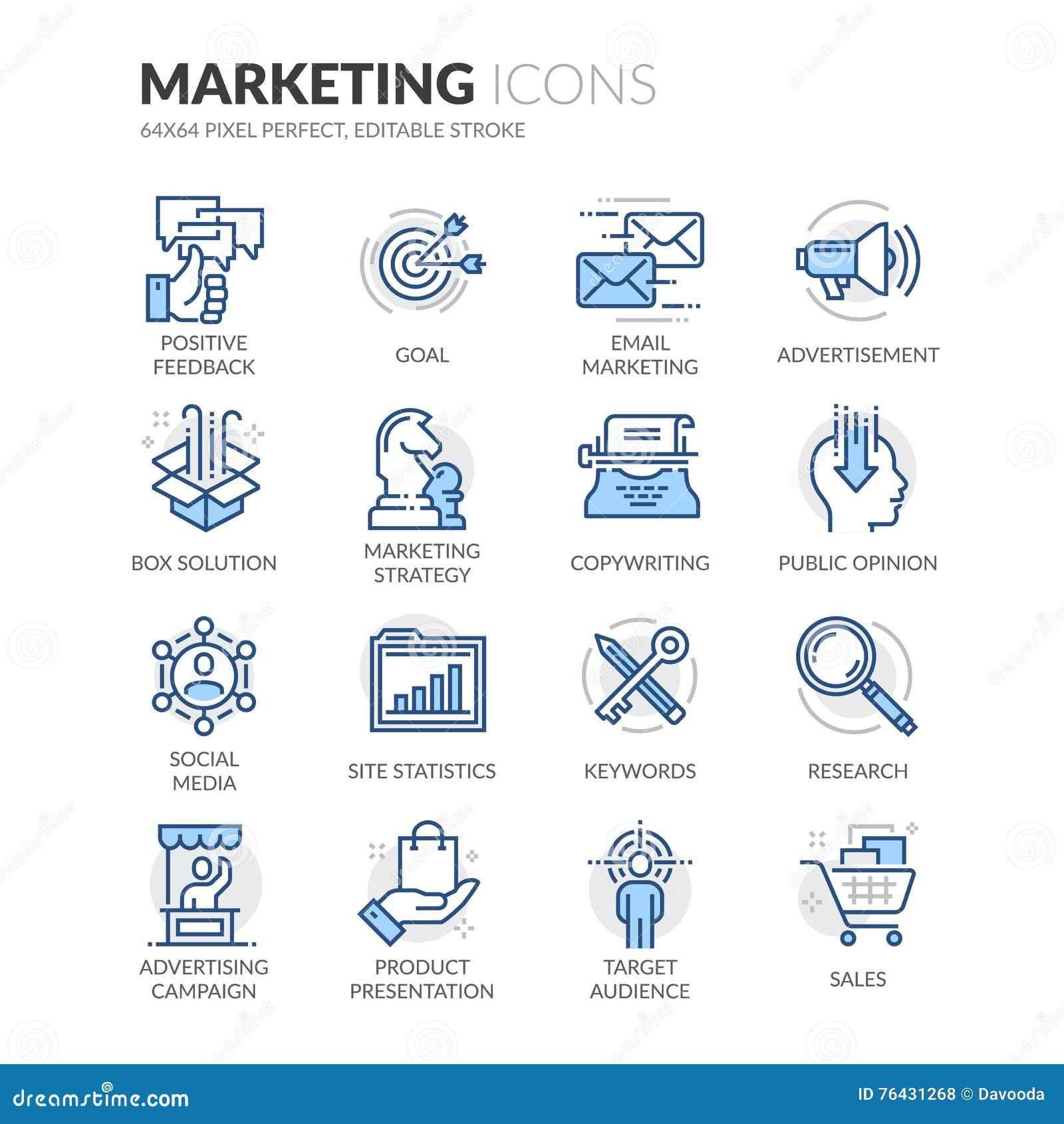 Lijn Marketing Pictogrammen