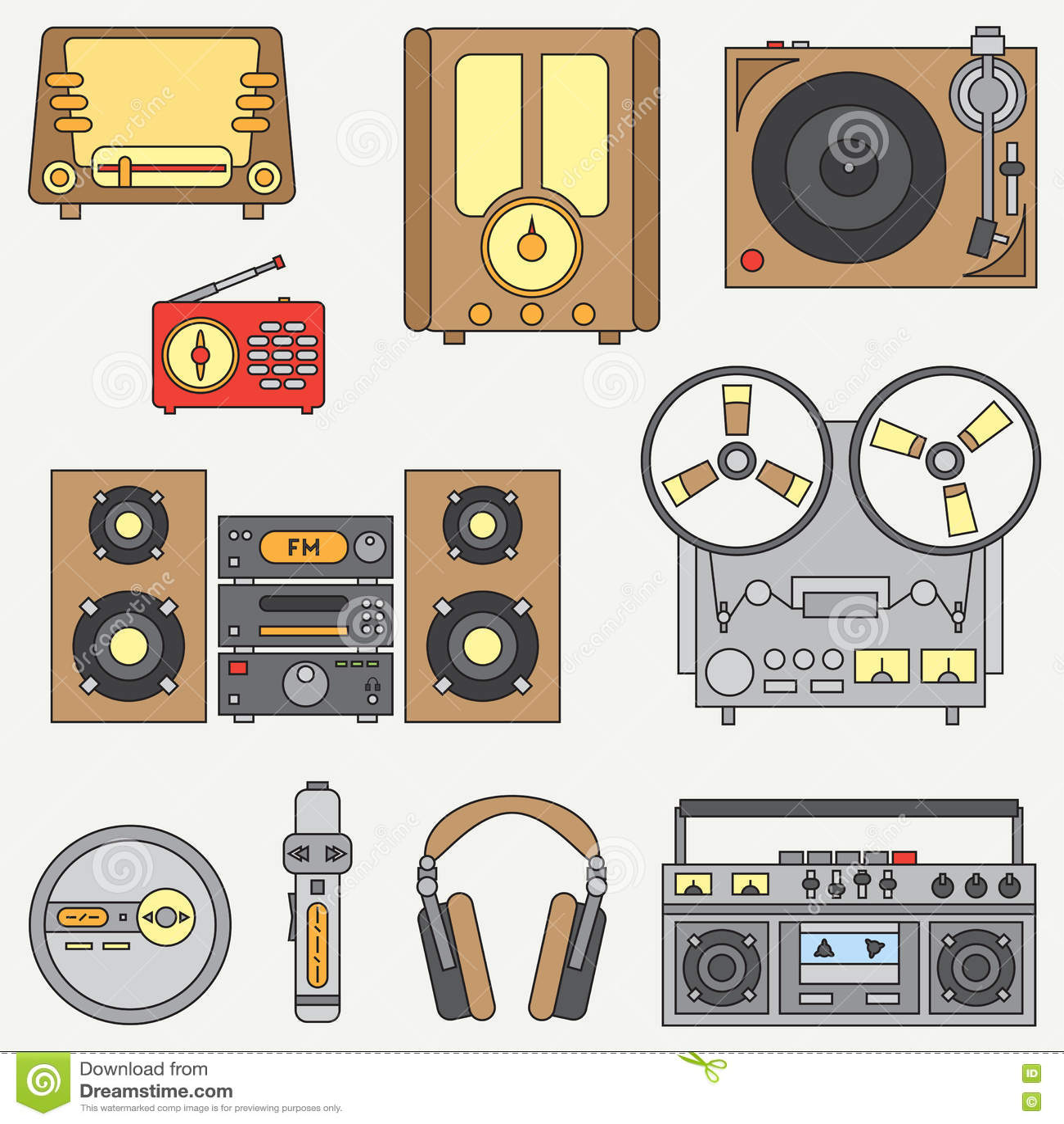 Lijn vlak vectordiepictogram met retro elektro audioapparaten wordt geplaatst De analoge ventilator van de uitzendingsmuziek De s