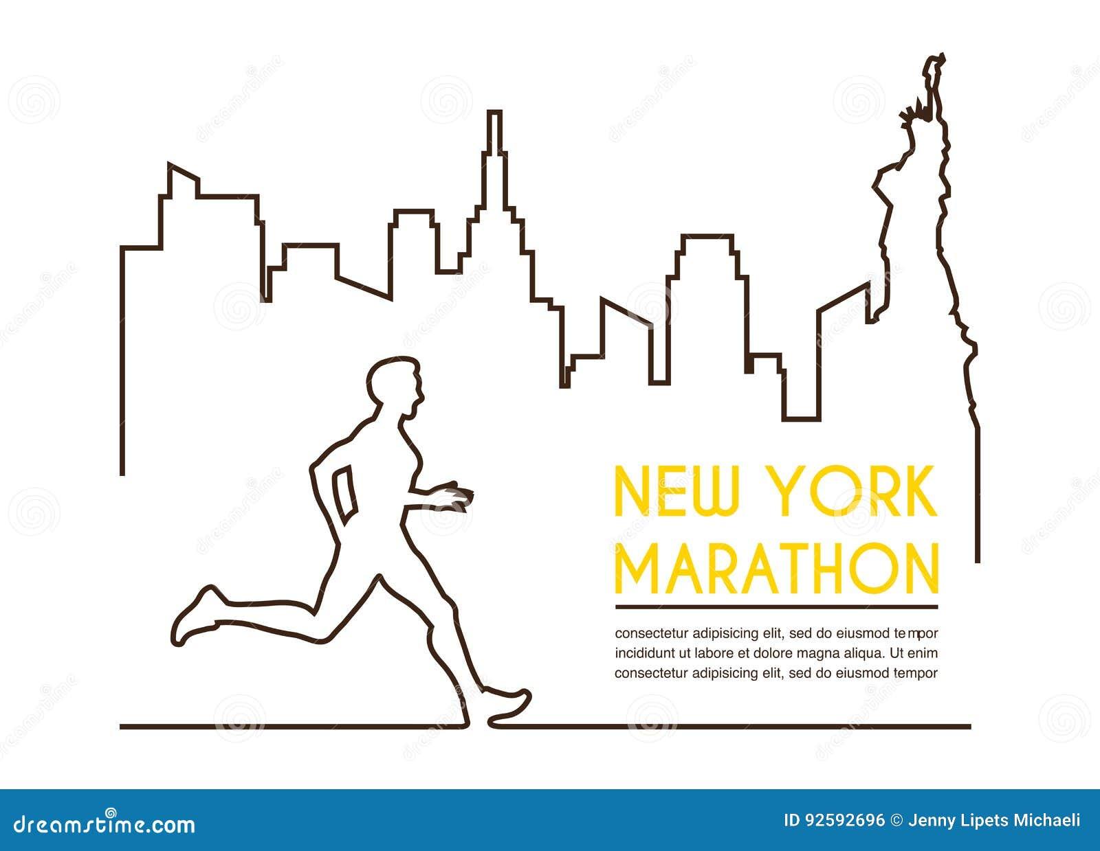 Lijnsilhouetten van mannelijke agent Lopende marathon, afficheontwerp