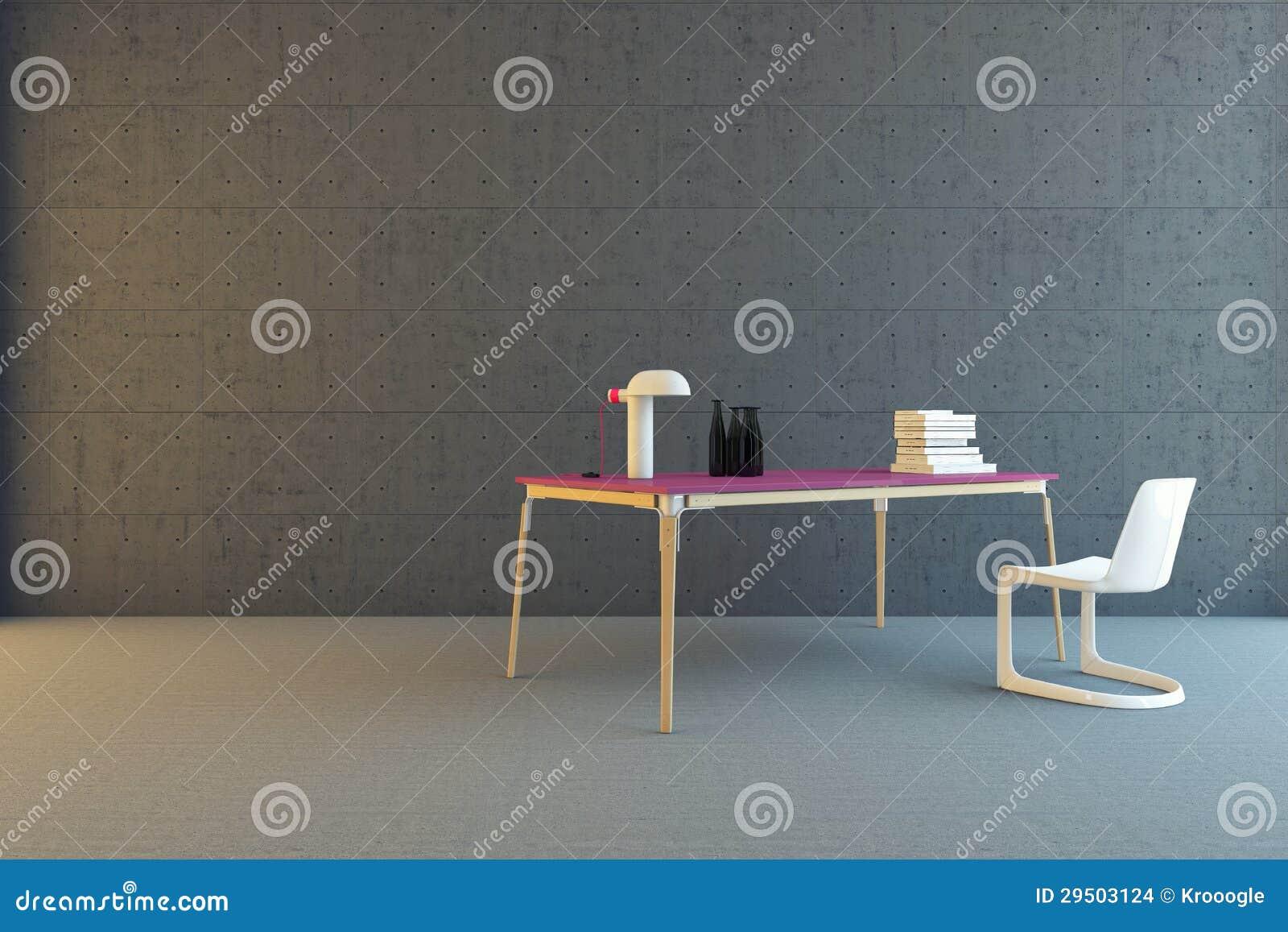 Lijst en stoel in concrete ruimte