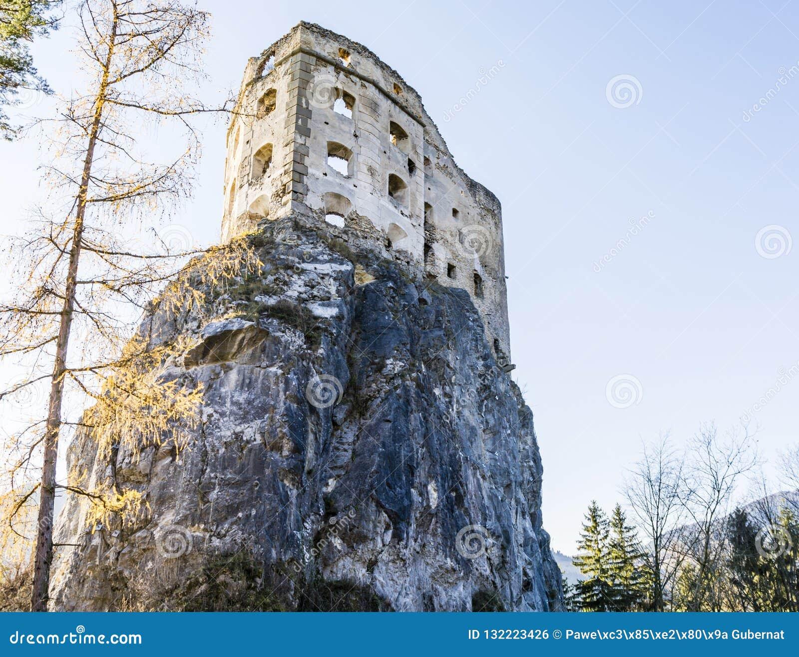 Likava皇家城堡-堡垒的被毁坏的墙壁岩石的