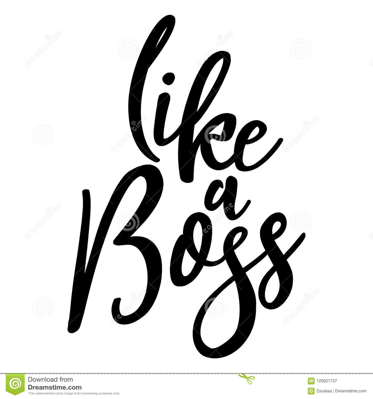 Like A Boss Funny Typography Quote Stock Vector Illustration Of