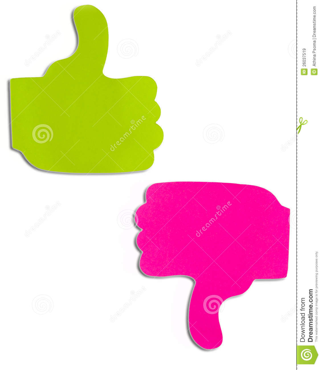 Green and purple sticky notes in shape thumb up and thumb down.